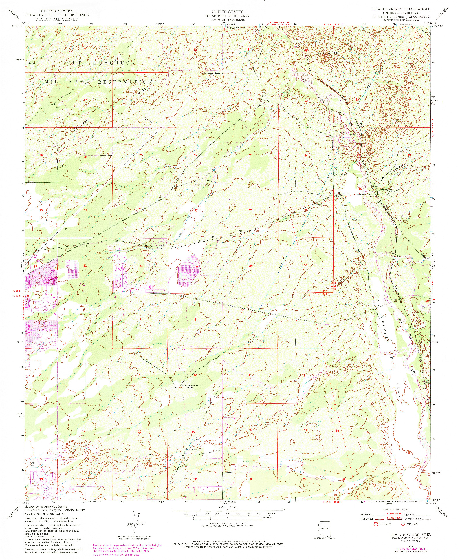 USGS 1:24000-SCALE QUADRANGLE FOR LEWIS SPRINGS, AZ 1952