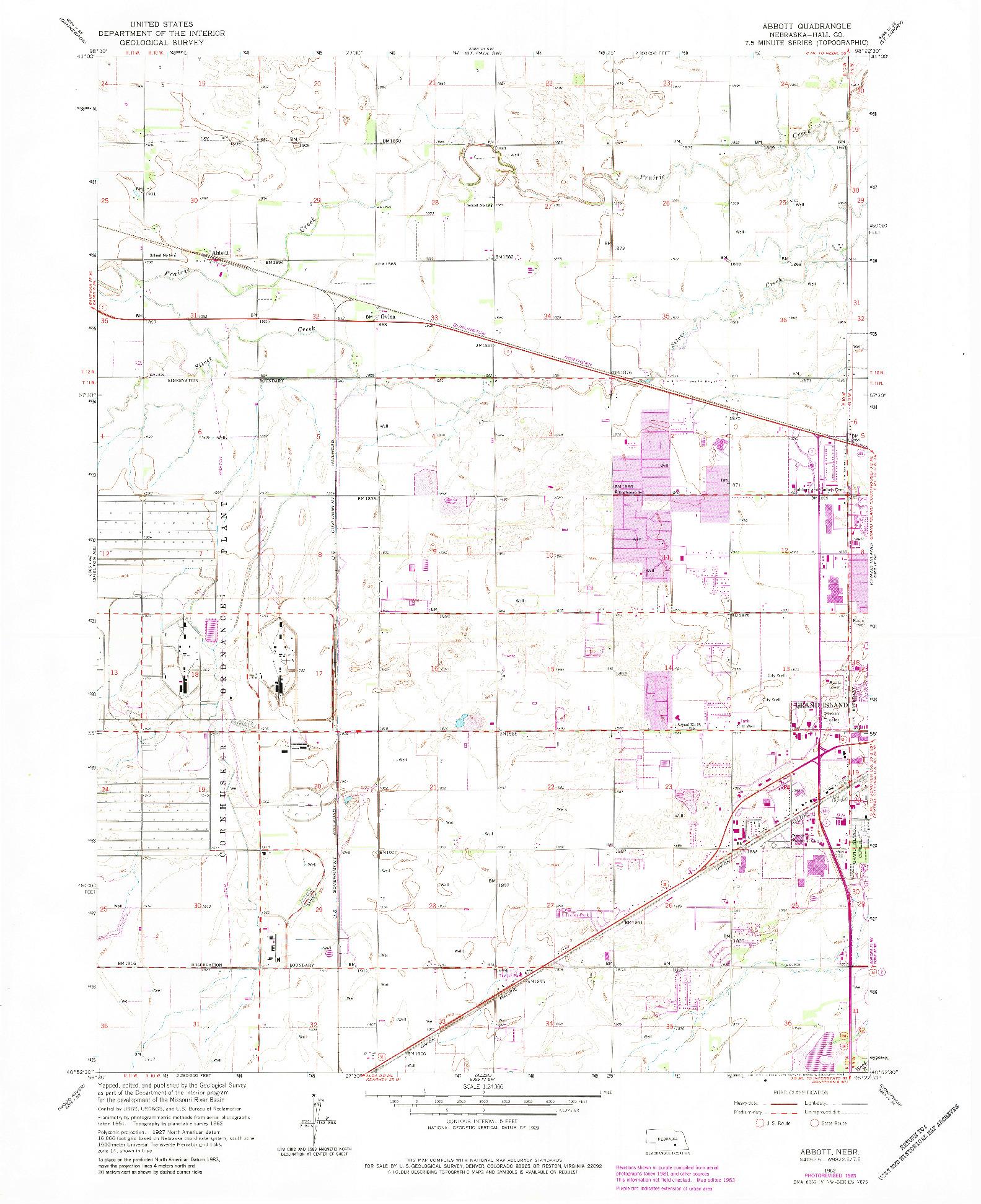 USGS 1:24000-SCALE QUADRANGLE FOR ABBOTT, NE 1962