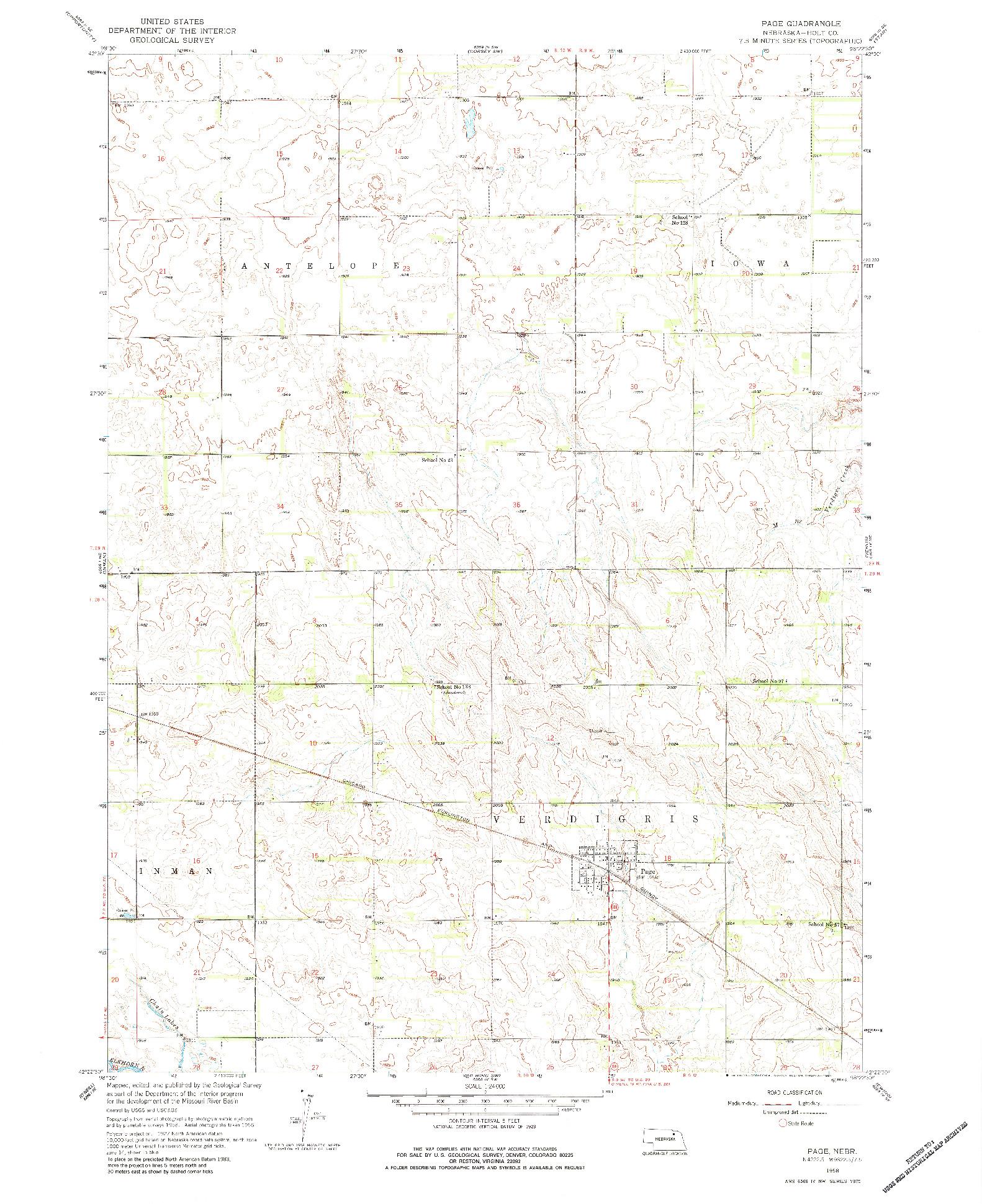 USGS 1:24000-SCALE QUADRANGLE FOR PAGE, NE 1958