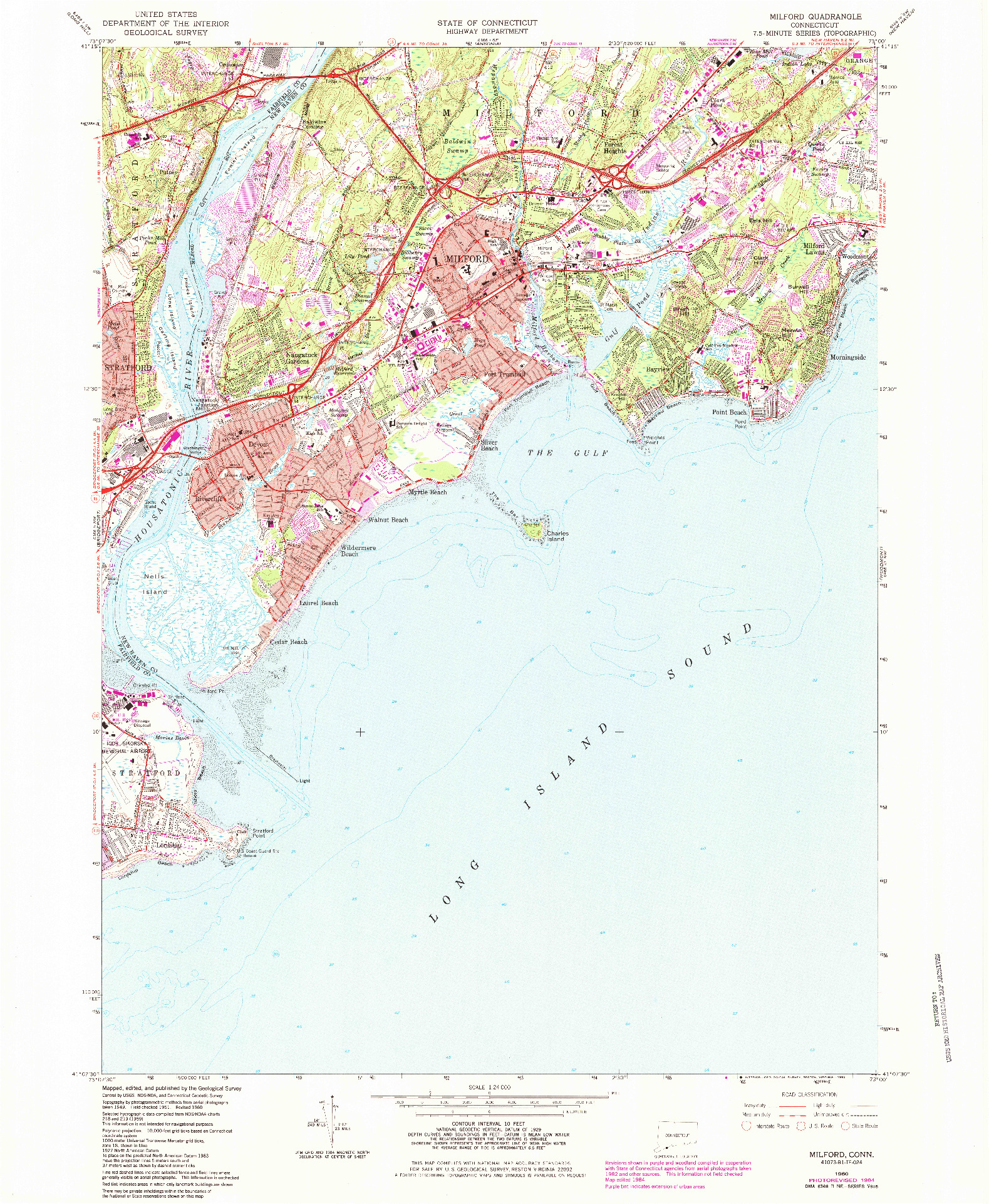 USGS 1:24000-SCALE QUADRANGLE FOR MILFORD, CT 1984