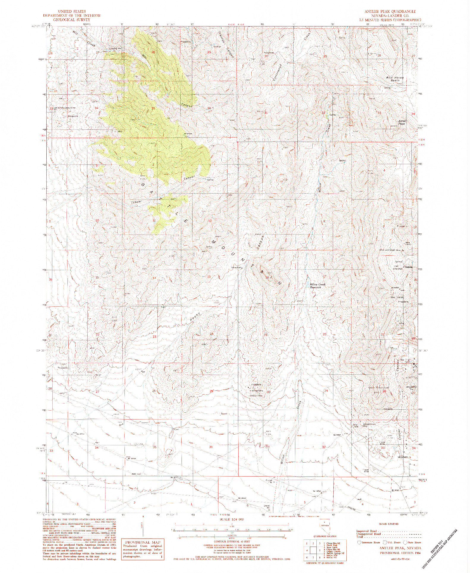 USGS 1:24000-SCALE QUADRANGLE FOR ANTLER PEAK, NV 1984