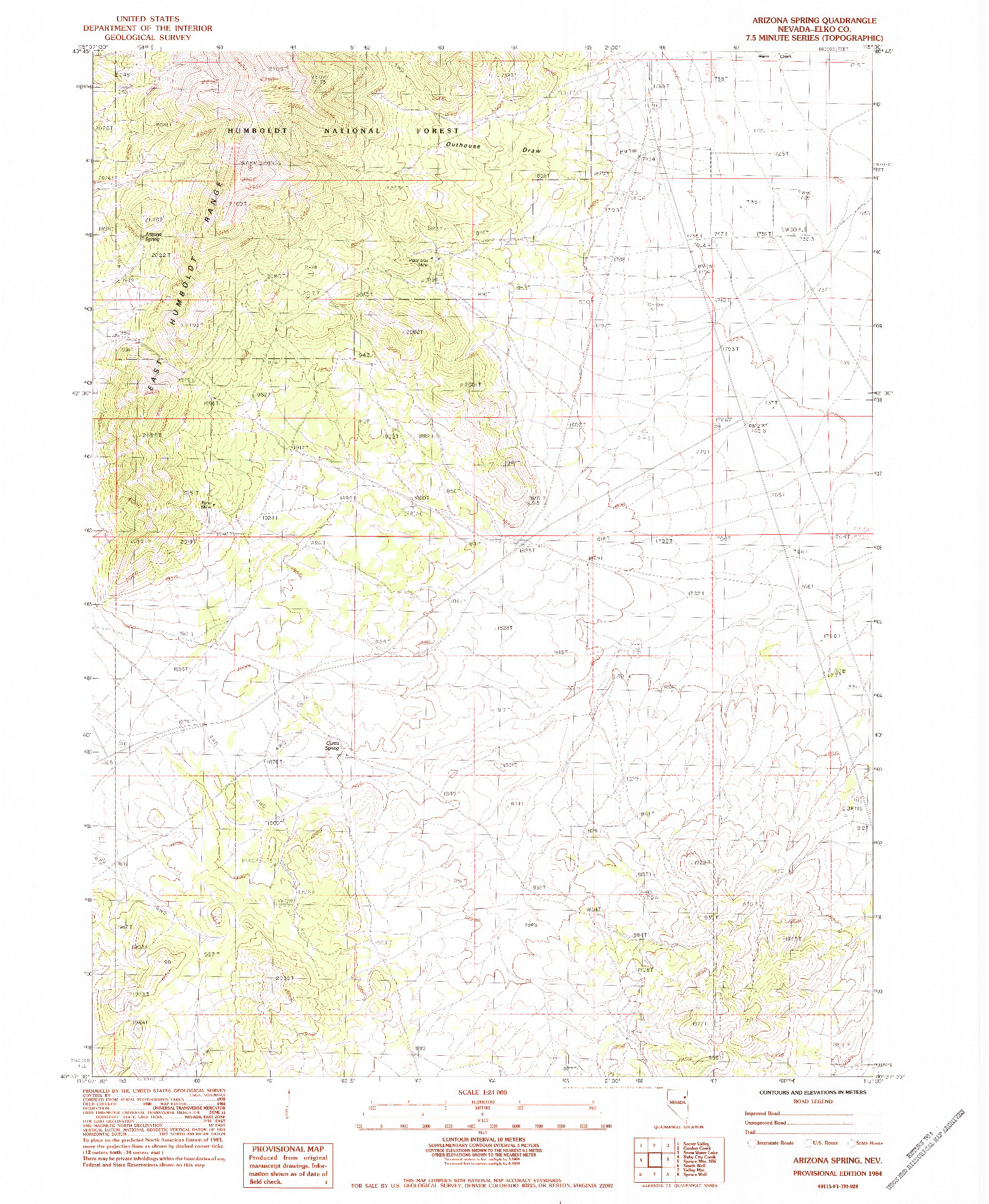 USGS 1:24000-SCALE QUADRANGLE FOR ARIZONA SPRING, NV 1984