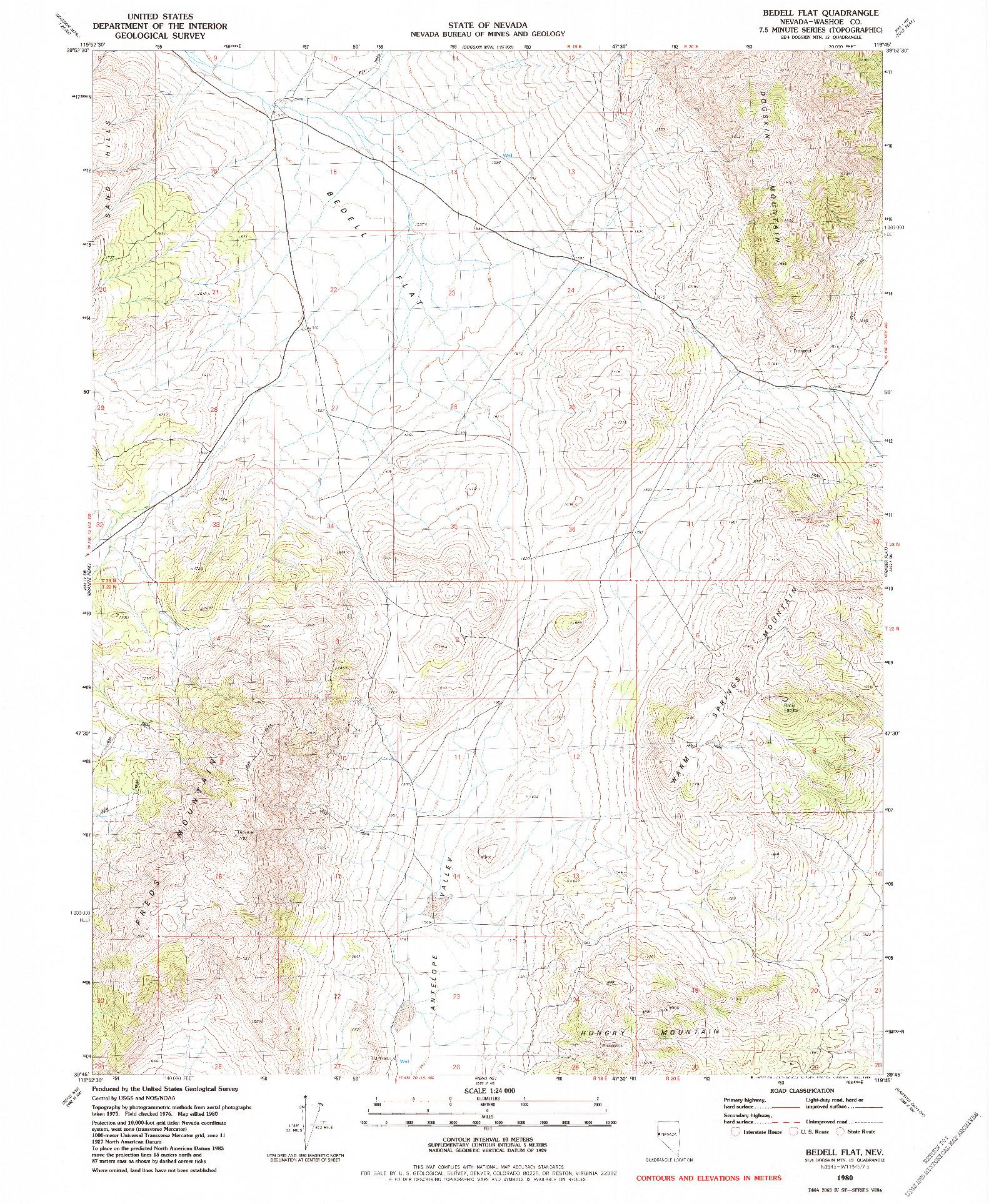 USGS 1:24000-SCALE QUADRANGLE FOR BEDELL FLAT, NV 1980