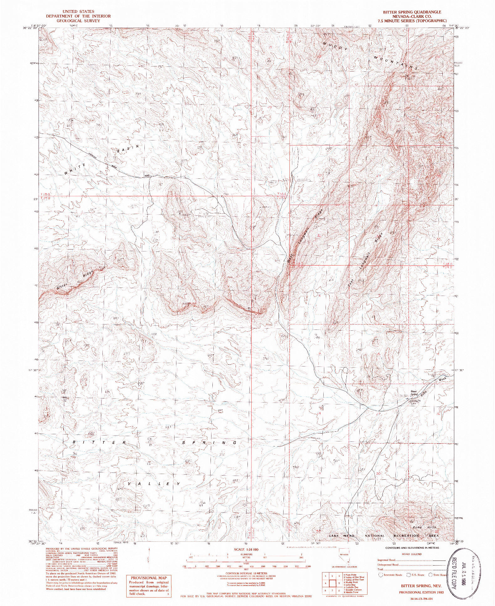 USGS 1:24000-SCALE QUADRANGLE FOR BITTER SPRING, NV 1983