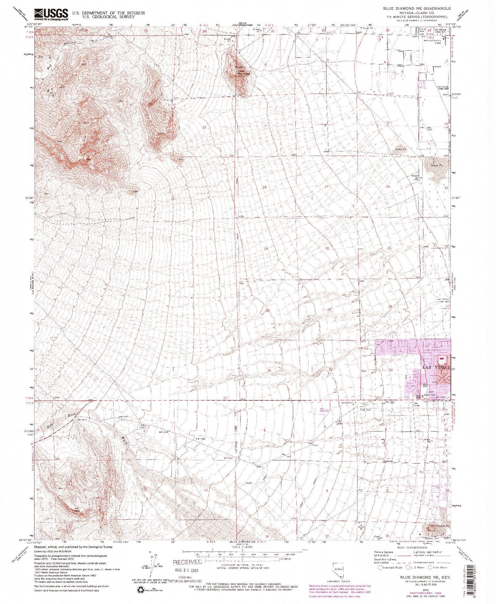 USGS 1:24000-SCALE QUADRANGLE FOR BLUE DIAMOND NE, NV 1972