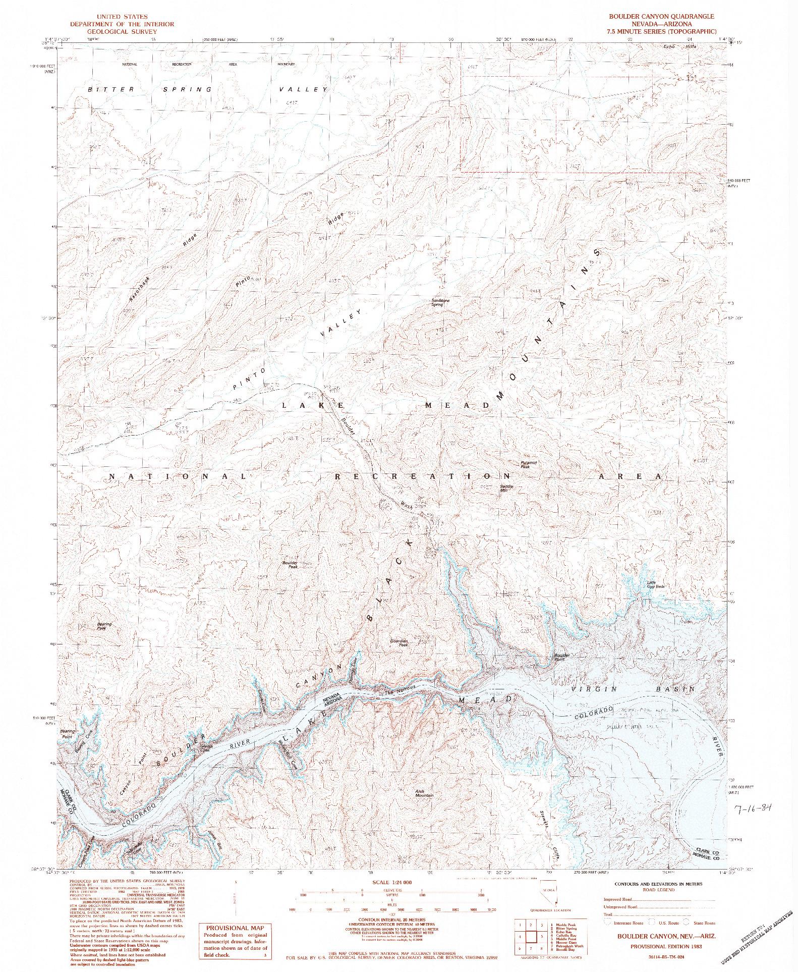 USGS 1:24000-SCALE QUADRANGLE FOR BOULDER CANYON, NV 1983
