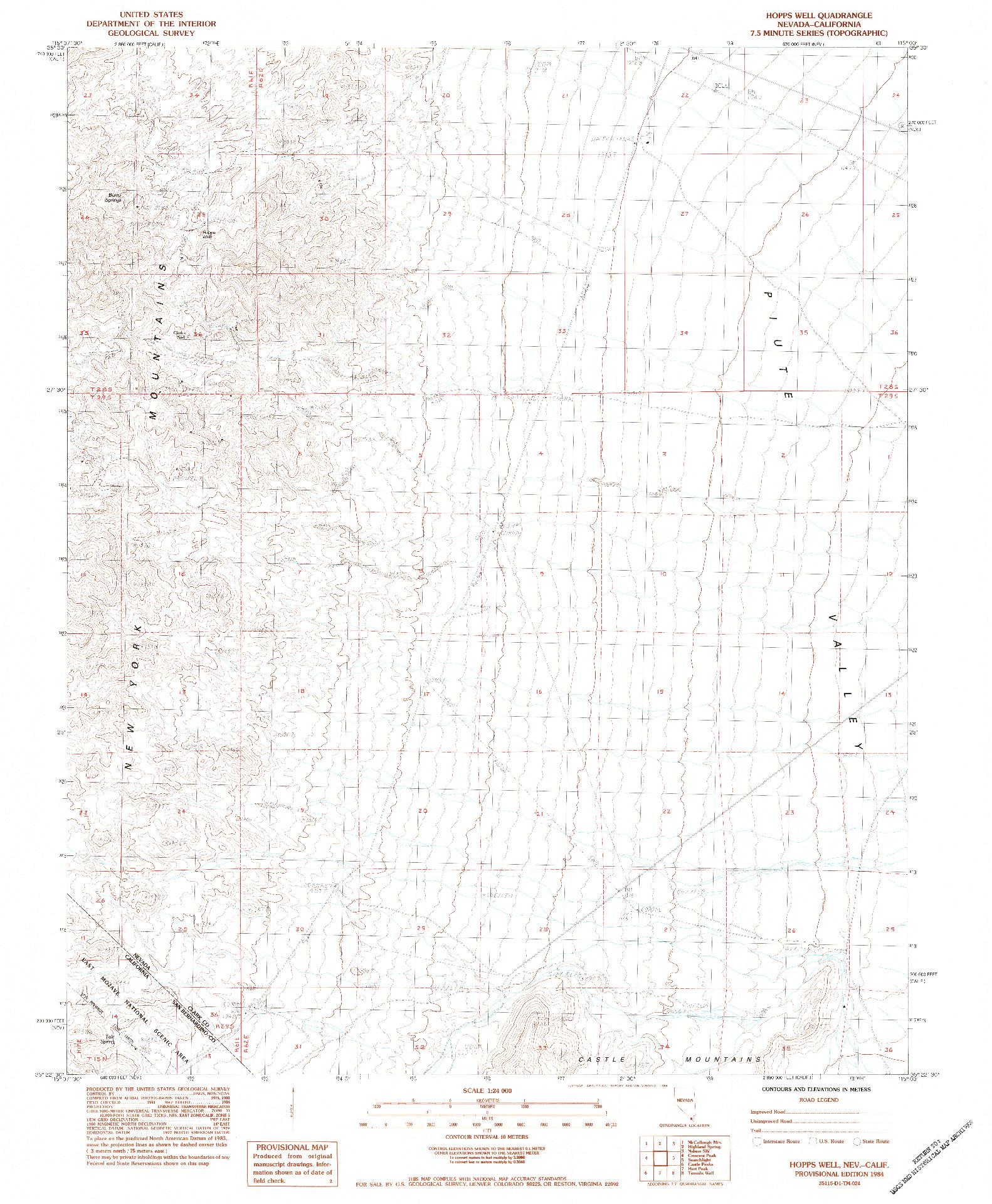 USGS 1:24000-SCALE QUADRANGLE FOR HOPPS WELL, NV 1984