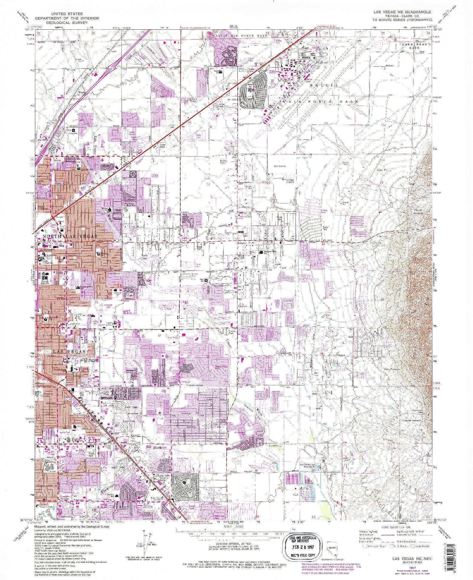 USGS 1:24000-SCALE QUADRANGLE FOR LAS VEGAS NE, NV 1967