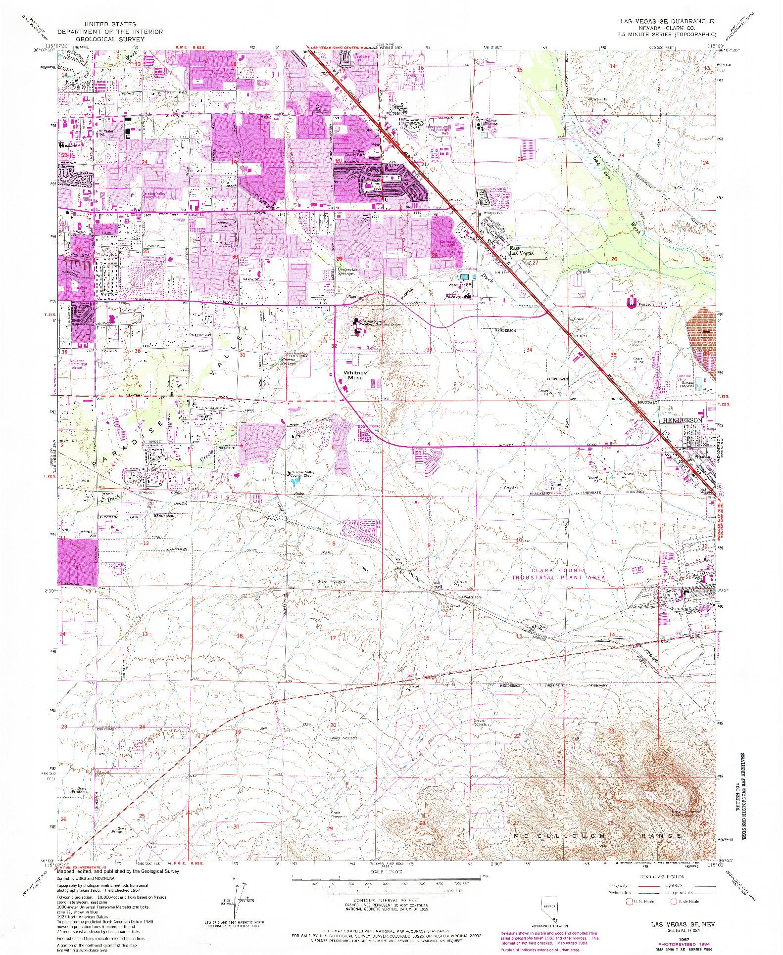 USGS 1:24000-SCALE QUADRANGLE FOR LAS VEGAS SE, NV 1967