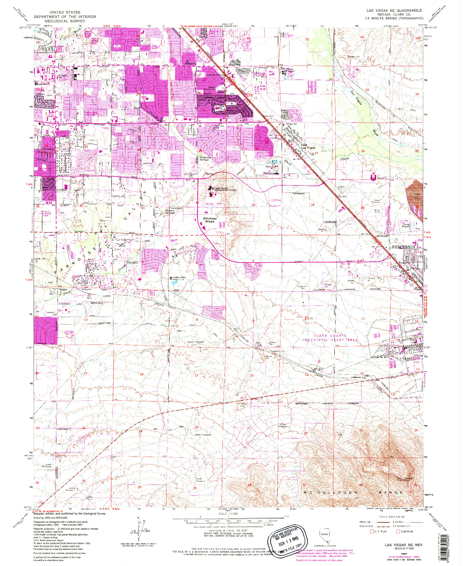 USGS 1:24000-SCALE QUADRANGLE FOR LAS VEGAS SE, NV 1967