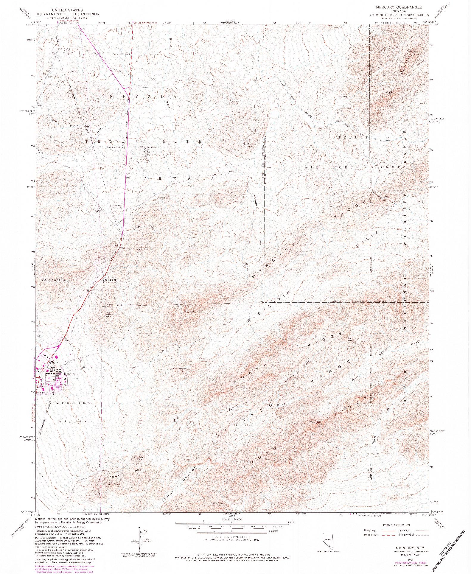 USGS 1:24000-SCALE QUADRANGLE FOR MERCURY, NV 1961