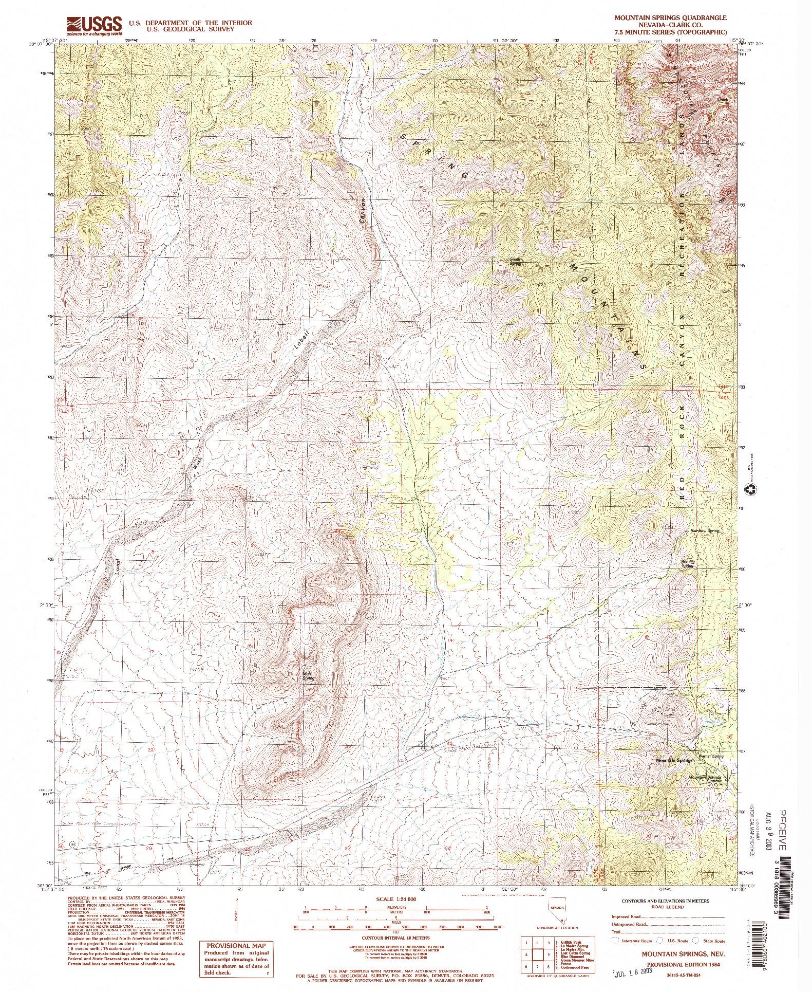 USGS 1:24000-SCALE QUADRANGLE FOR MOUNTAIN SPRINGS, NV 1984