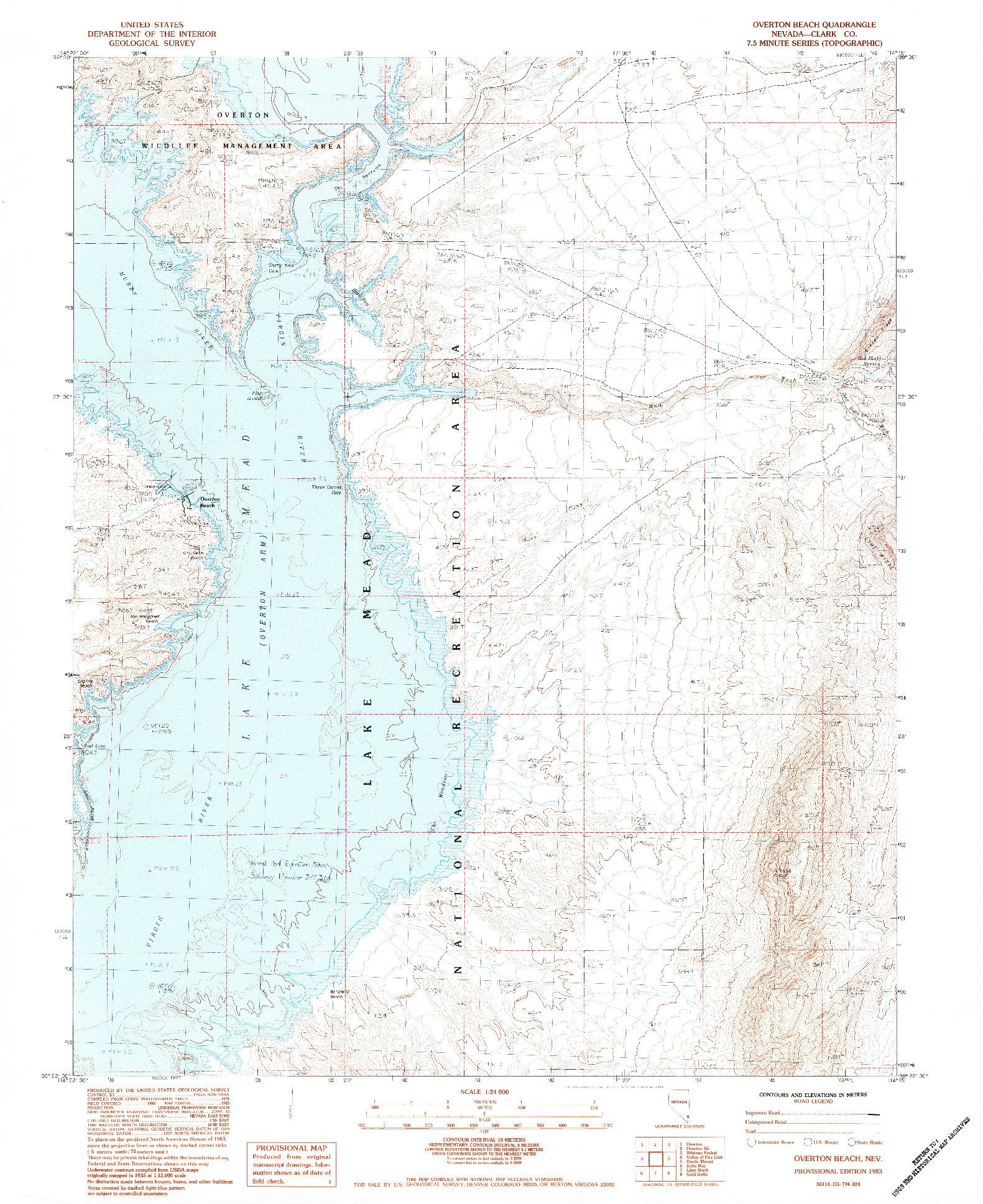 USGS 1:24000-SCALE QUADRANGLE FOR OVERTON BEACH, NV 1983