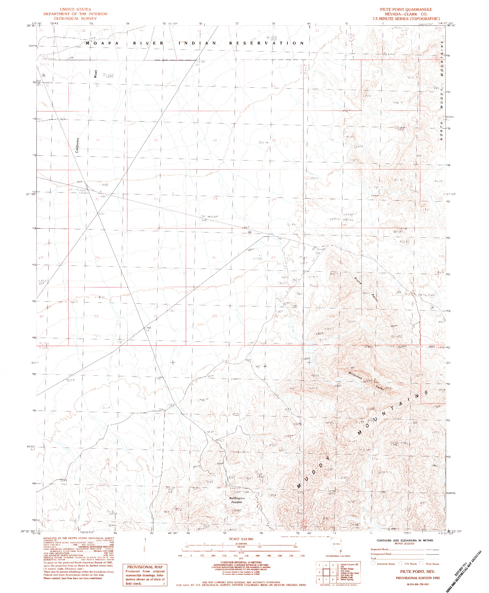USGS 1:24000-SCALE QUADRANGLE FOR PIUTE POINT, NV 1983