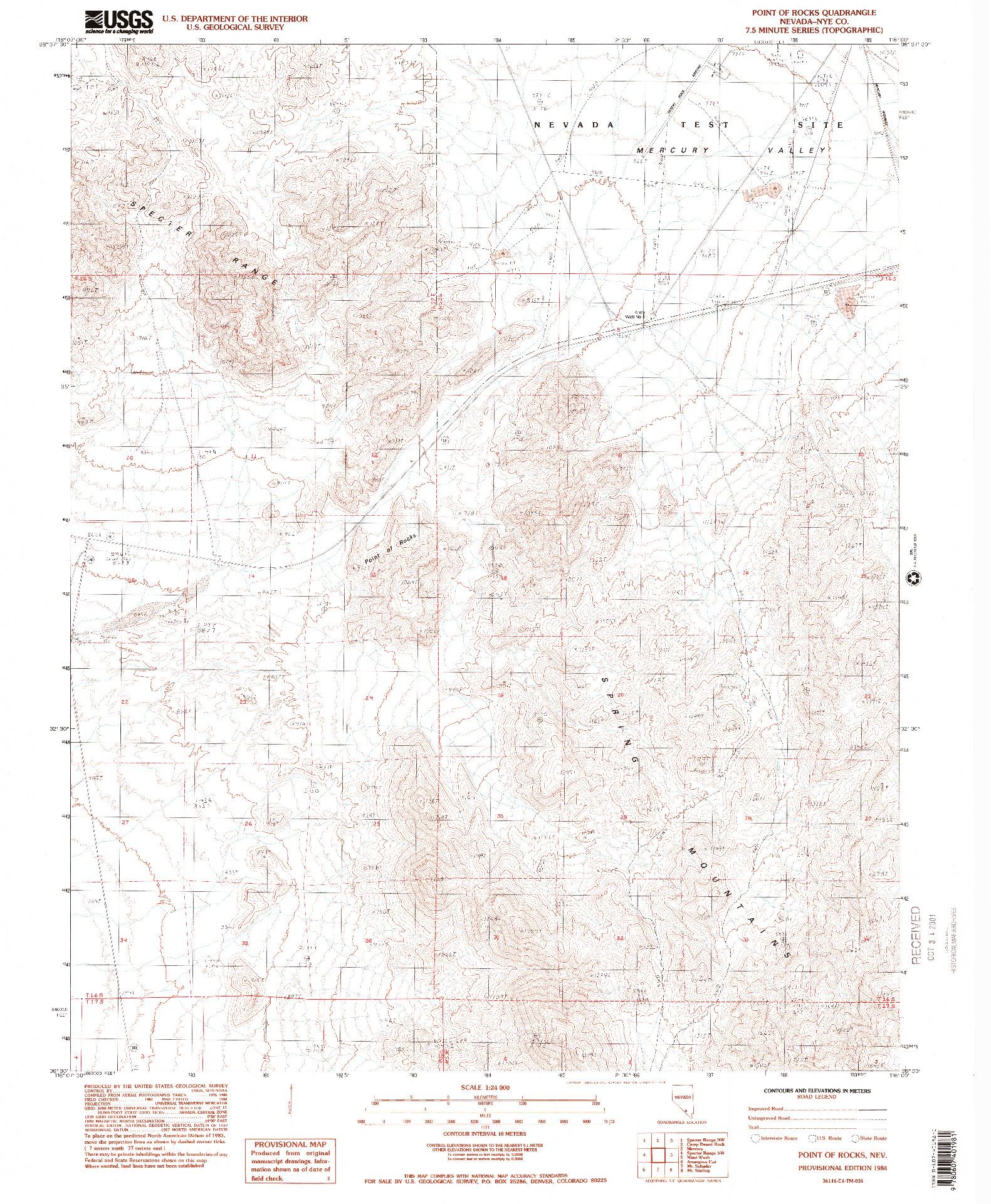 USGS 1:24000-SCALE QUADRANGLE FOR POINT OF ROCKS, NV 1984