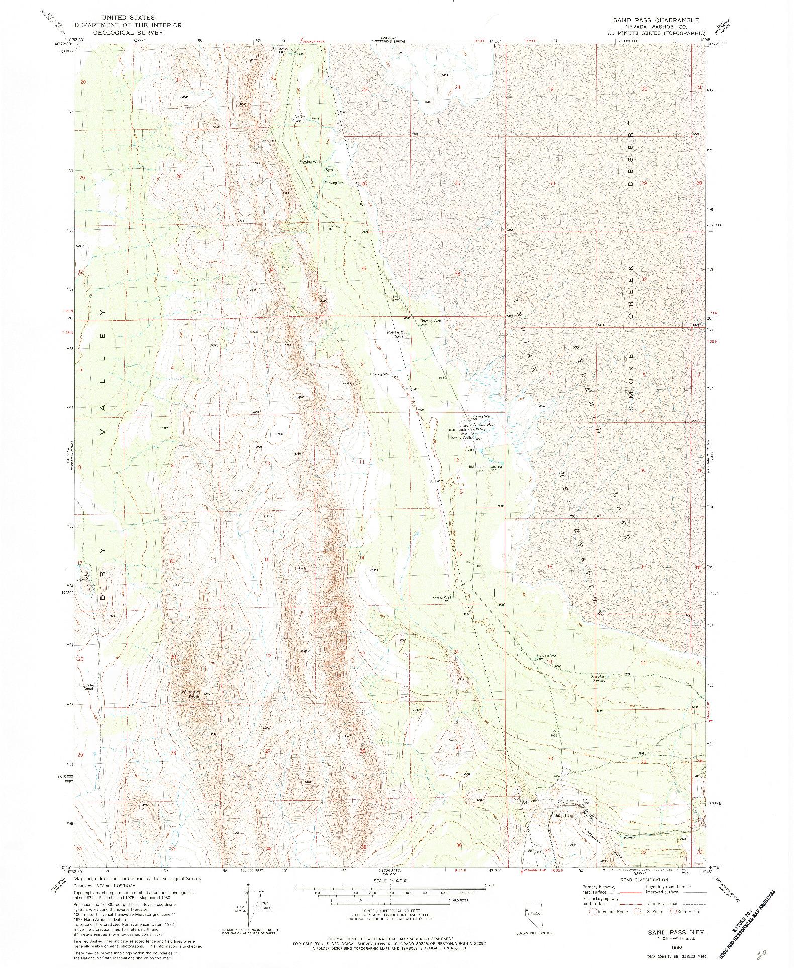 USGS 1:24000-SCALE QUADRANGLE FOR SAND PASS, NV 1980