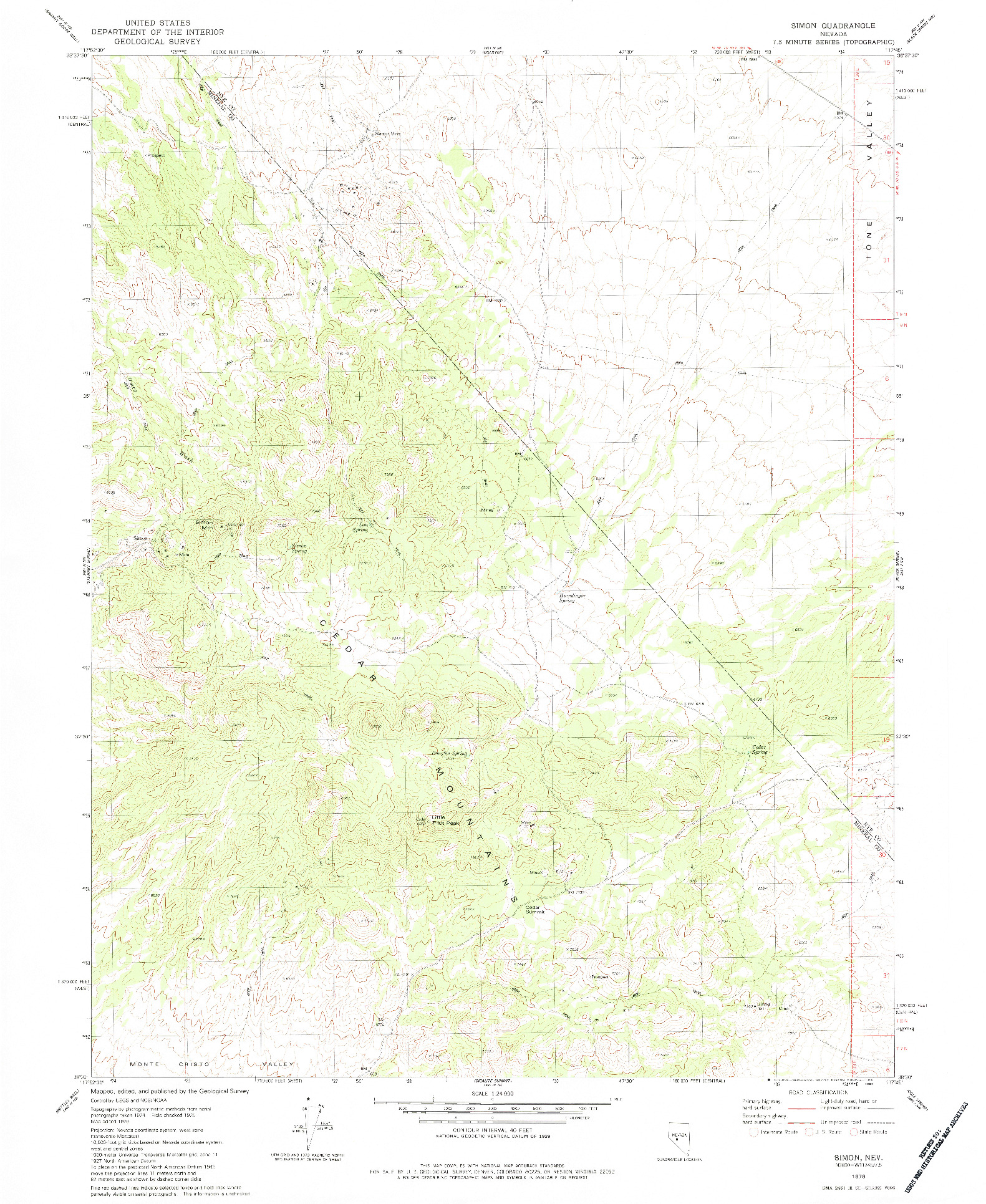 USGS 1:24000-SCALE QUADRANGLE FOR SIMON, NV 1979