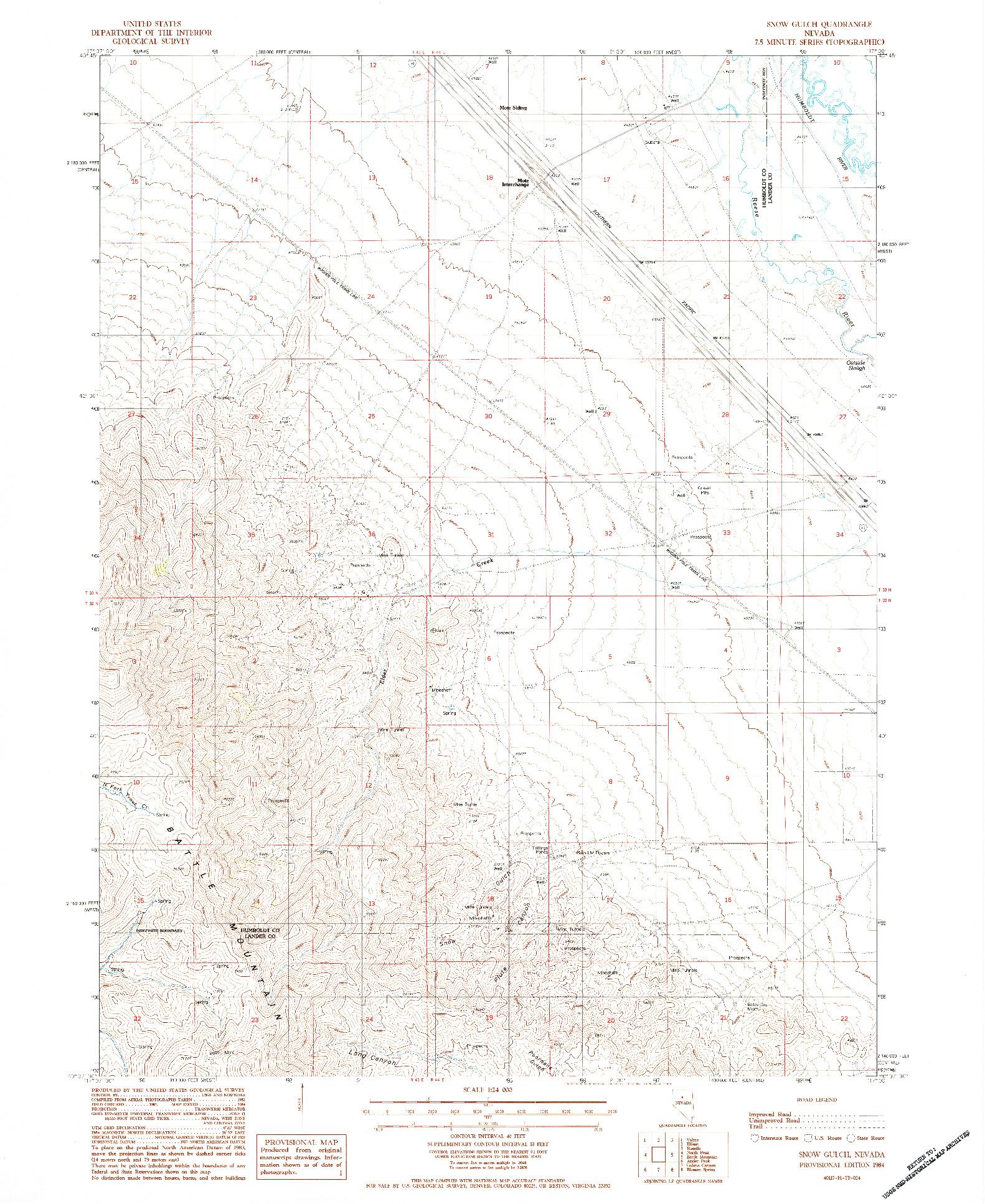 USGS 1:24000-SCALE QUADRANGLE FOR SNOW GULCH, NV 1984