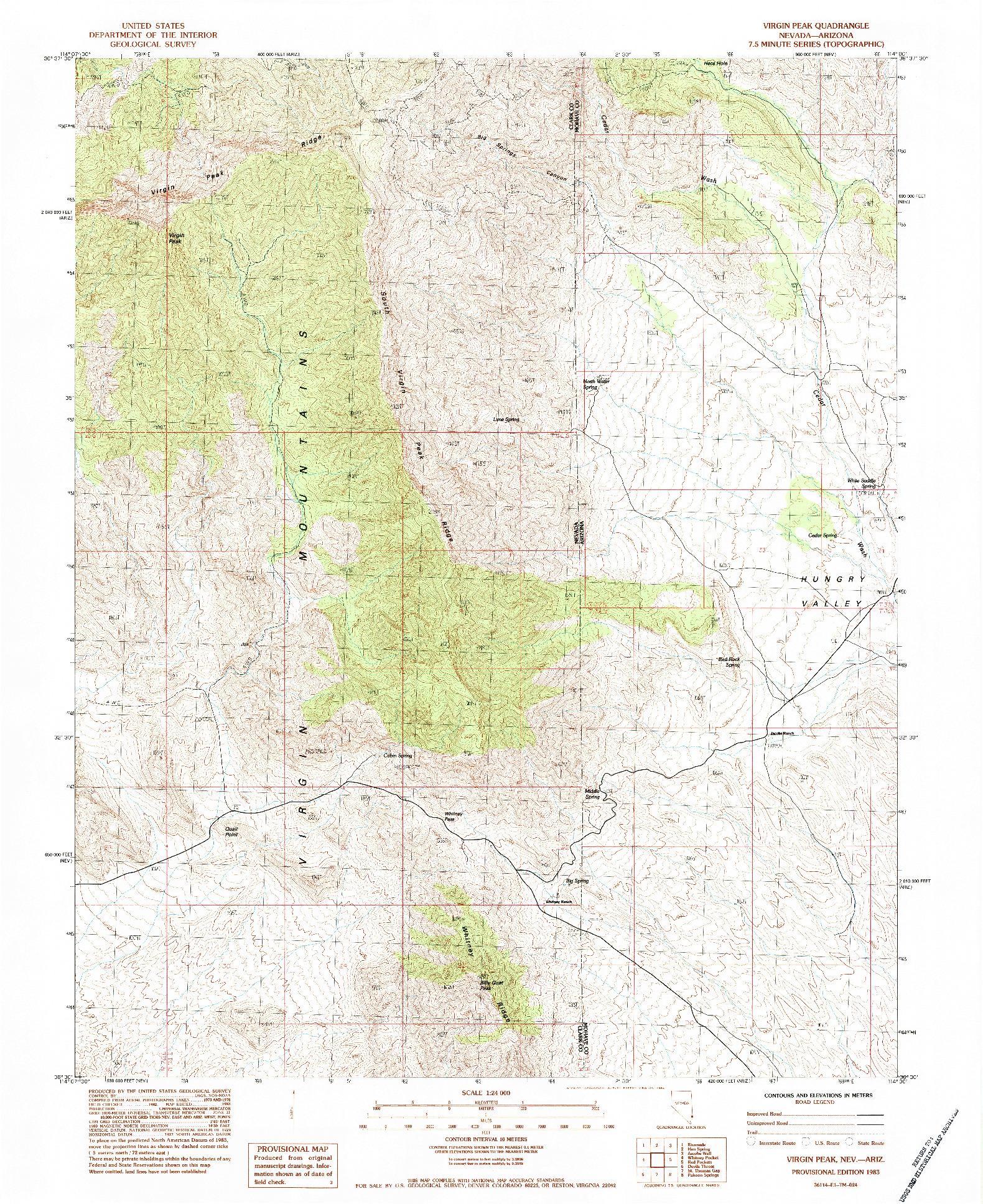 USGS 1:24000-SCALE QUADRANGLE FOR VIRGIN PEAK, NV 1983