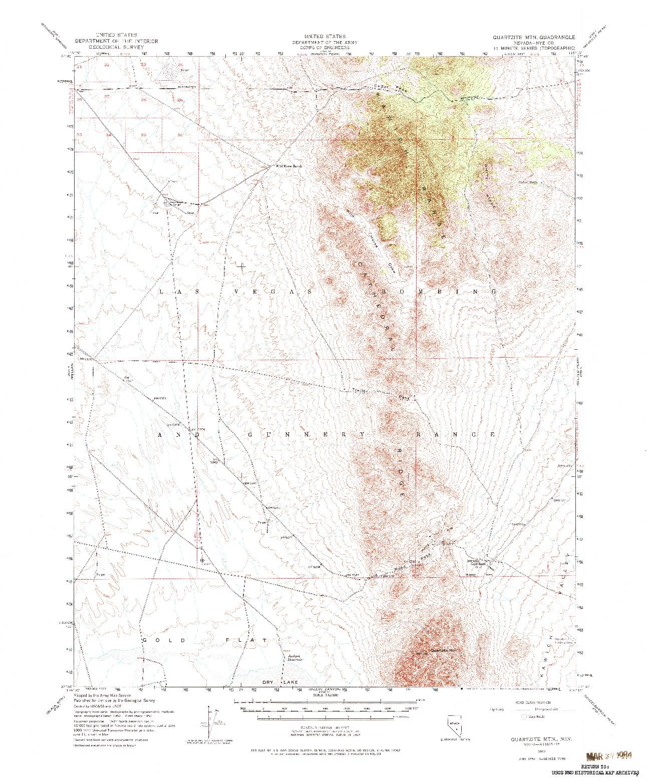 USGS 1:62500-SCALE QUADRANGLE FOR QUARTZITE MTN, NV 1952