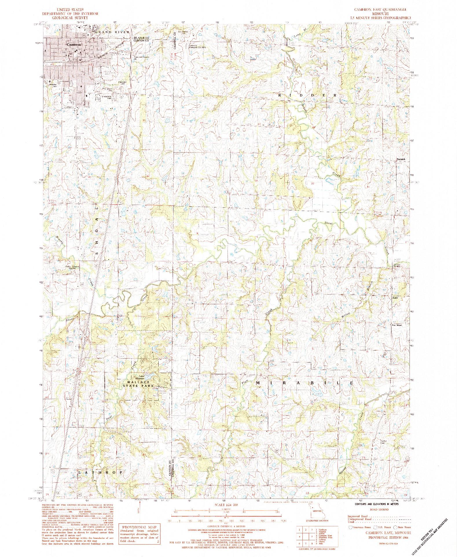 USGS 1:24000-SCALE QUADRANGLE FOR CAMERON EAST, MO 1984