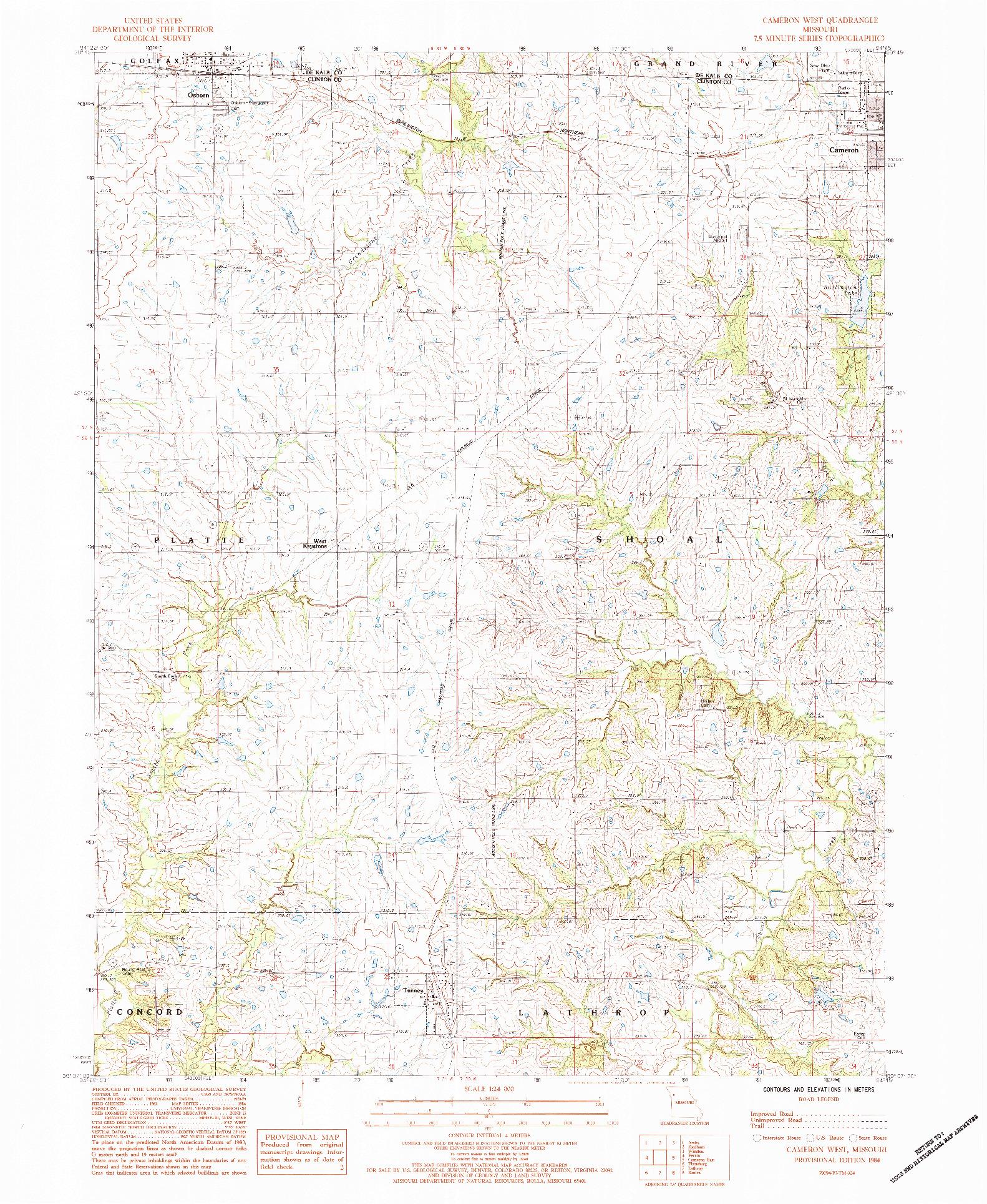 USGS 1:24000-SCALE QUADRANGLE FOR CAMERON WEST, MO 1984