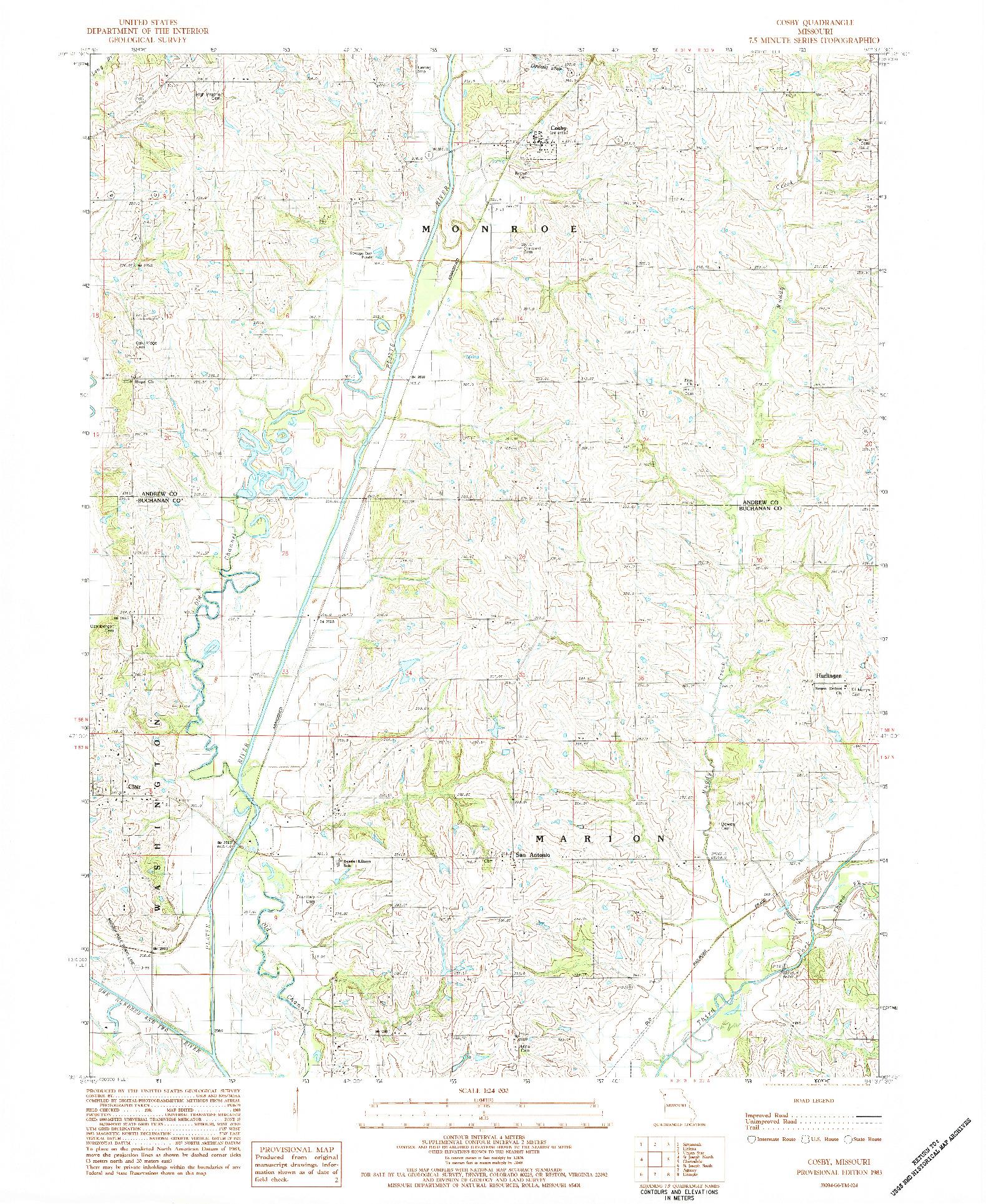 USGS 1:24000-SCALE QUADRANGLE FOR COSBY, MO 1983