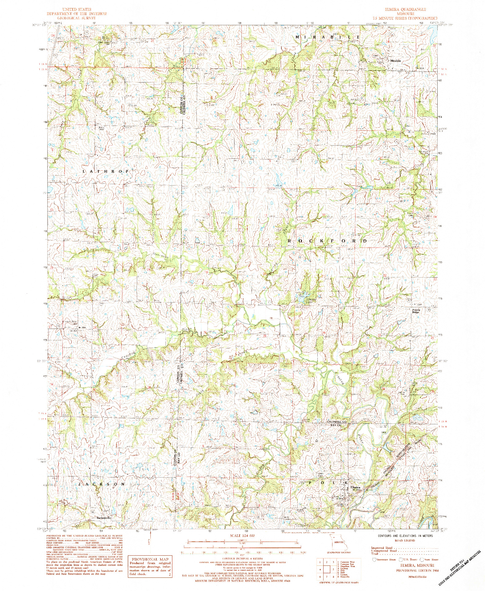 USGS 1:24000-SCALE QUADRANGLE FOR ELMIRA, MO 1984