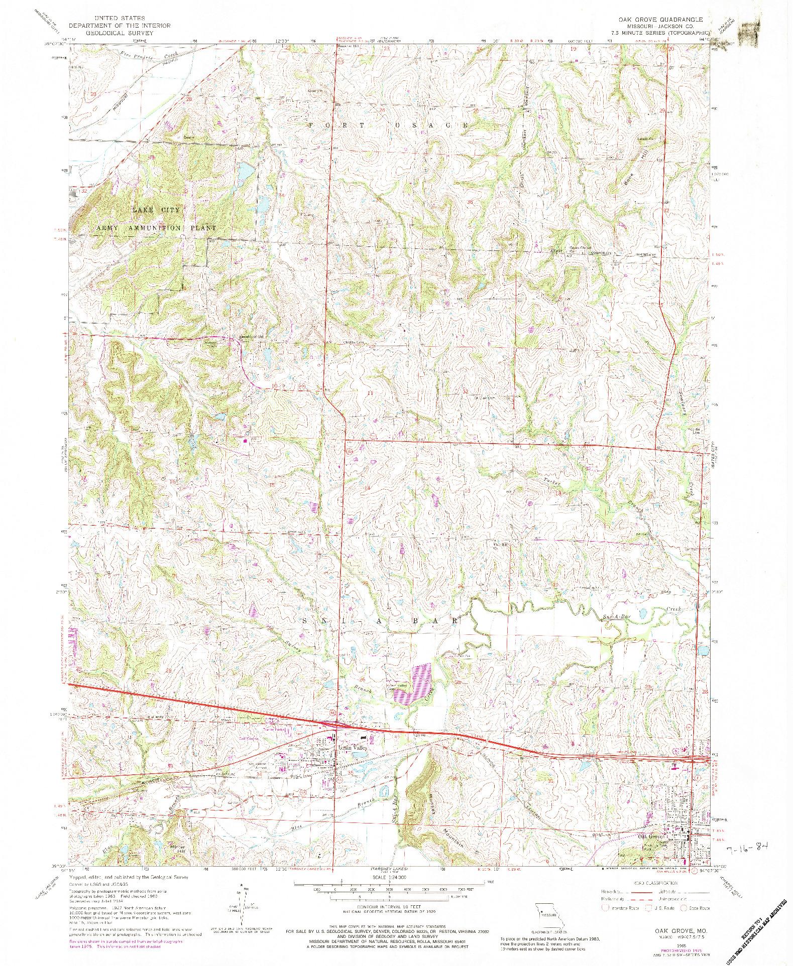 USGS 1:24000-SCALE QUADRANGLE FOR OAK GROVE, MO 1965