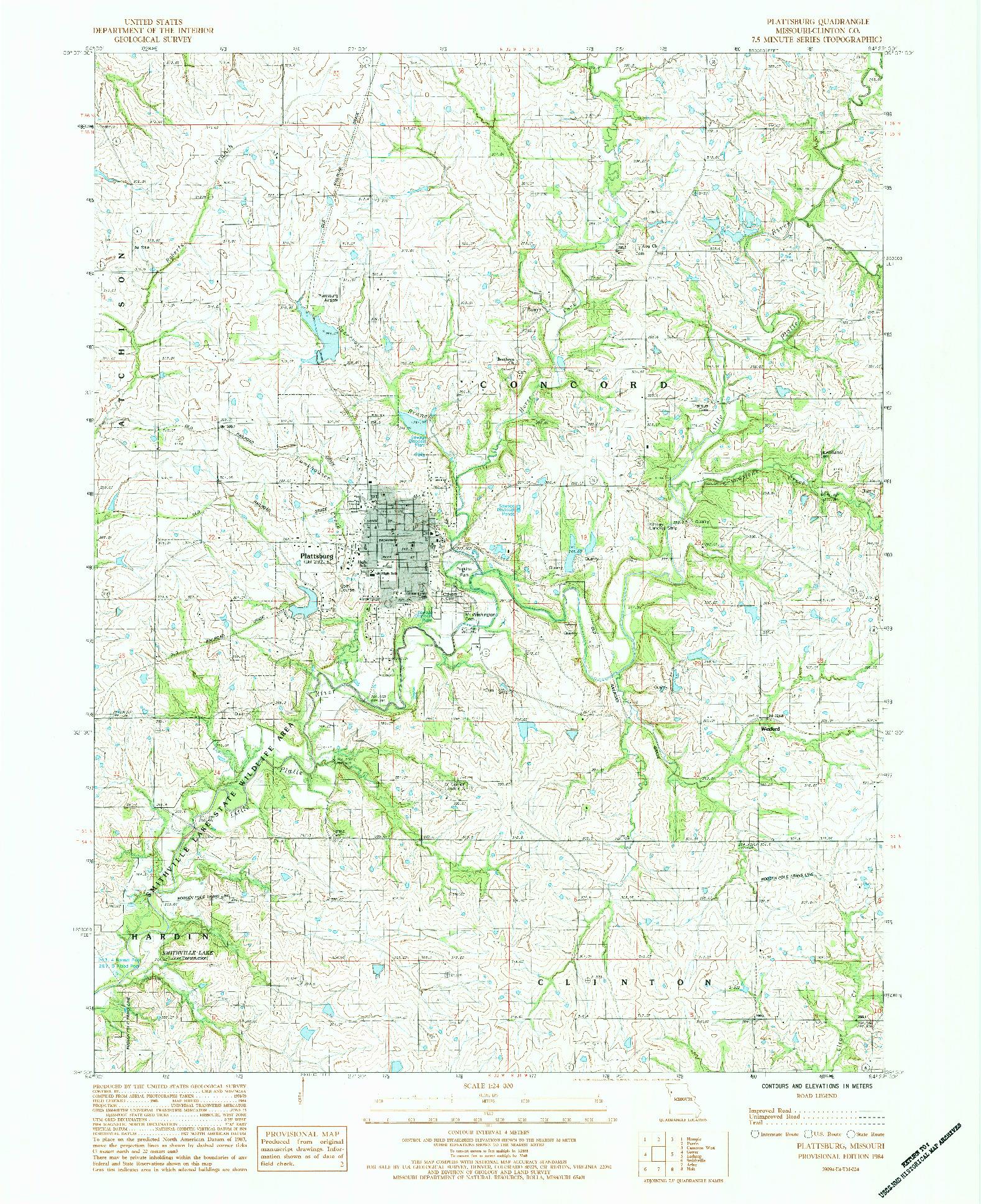 USGS 1:24000-SCALE QUADRANGLE FOR PLATTSBURG, MO 1984