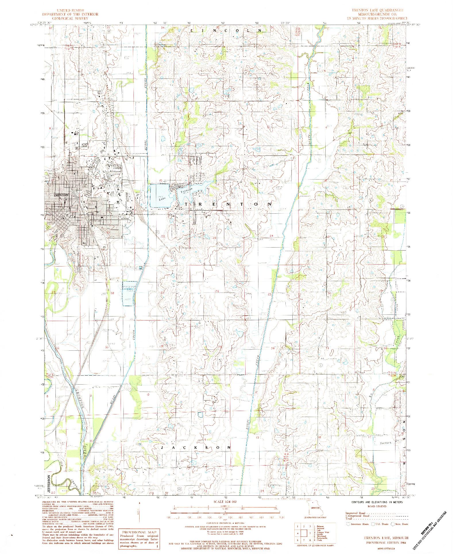 USGS 1:24000-SCALE QUADRANGLE FOR TRENTON EAST, MO 1984