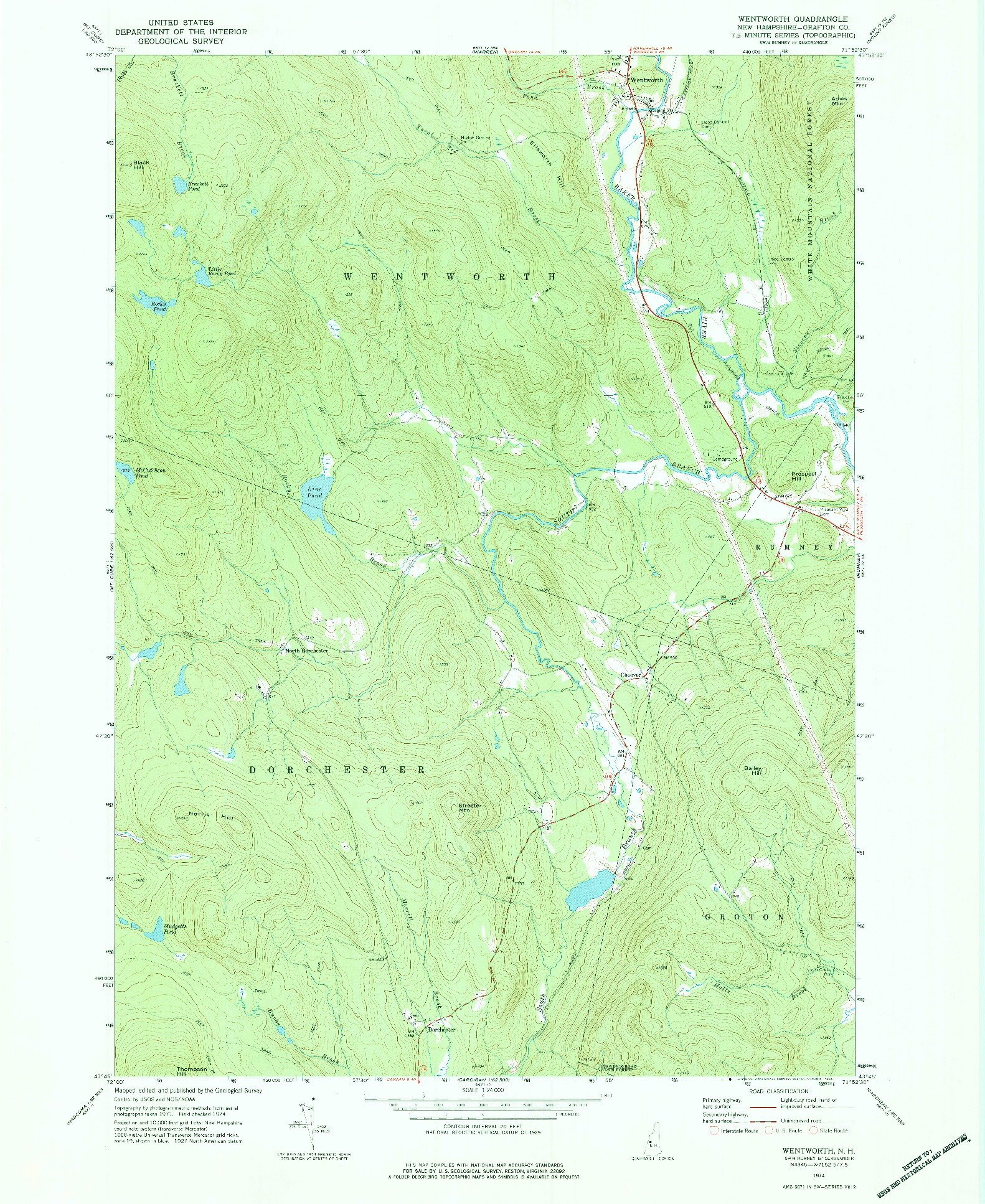 USGS 1:24000-SCALE QUADRANGLE FOR WENTWORTH, NH 1974