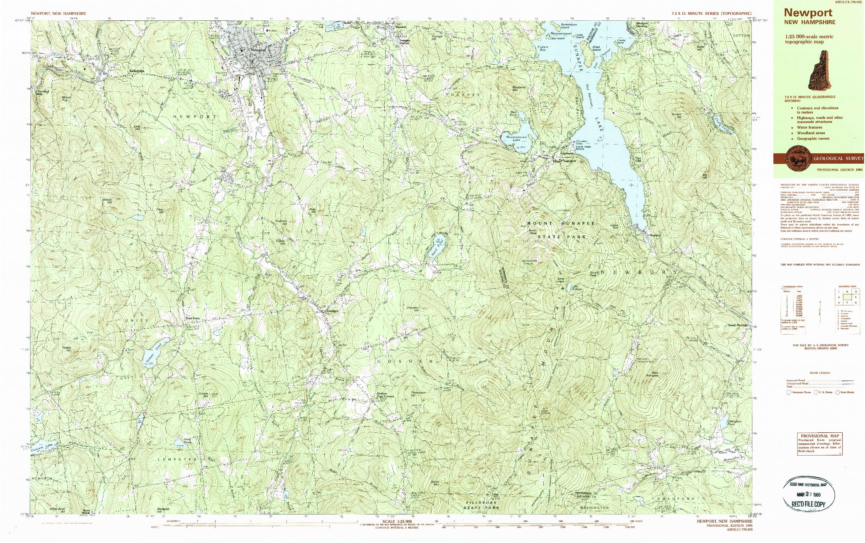 USGS 1:25000-SCALE QUADRANGLE FOR NEWPORT, NH 1984