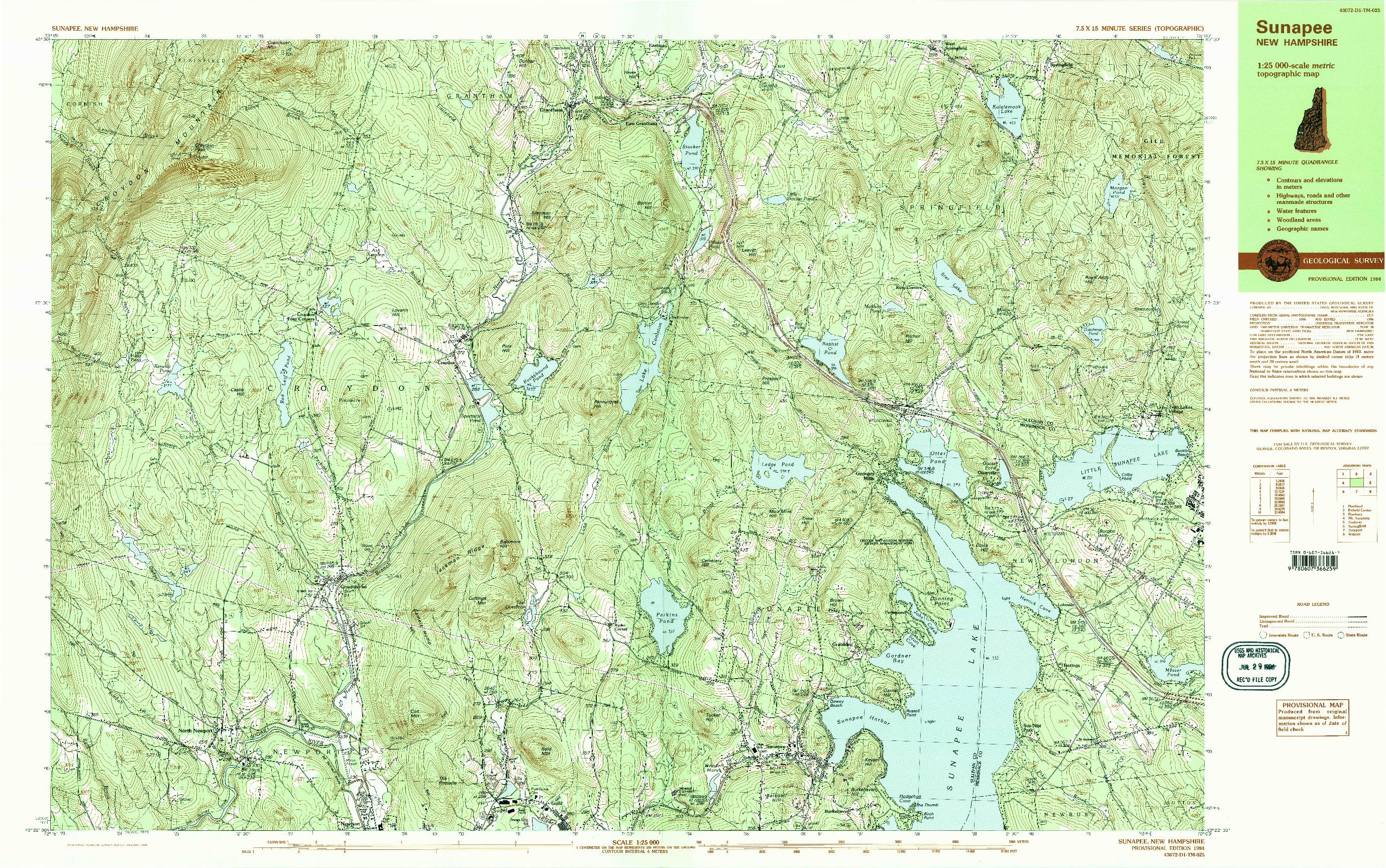 USGS 1:25000-SCALE QUADRANGLE FOR SUNAPEE, NH 1984