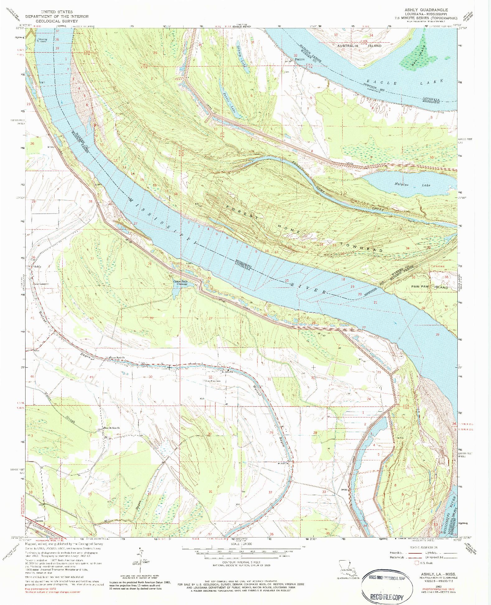 USGS 1:24000-SCALE QUADRANGLE FOR ASHLY, LA 1963