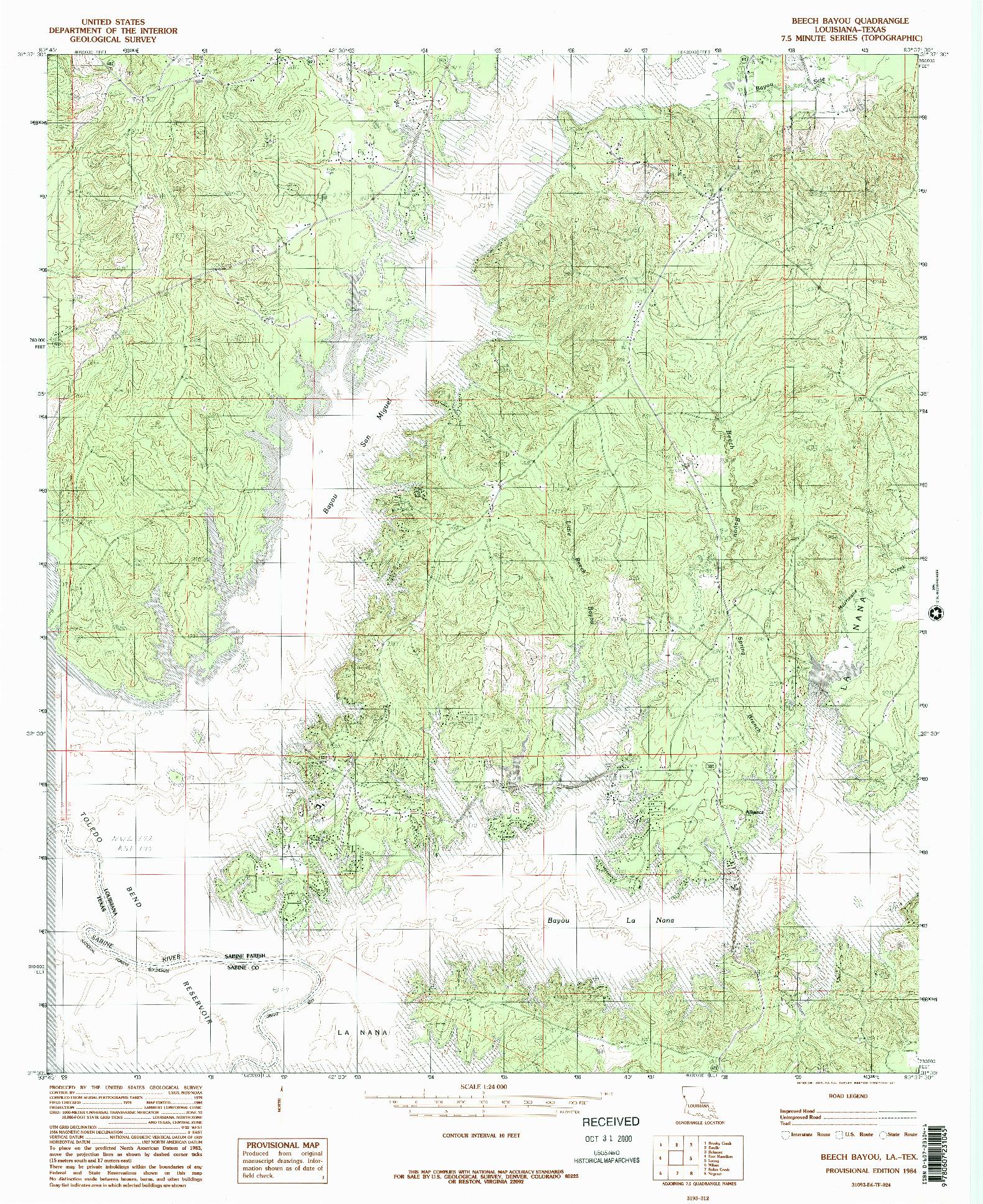 USGS 1:24000-SCALE QUADRANGLE FOR BEECH BAYOU, LA 1984