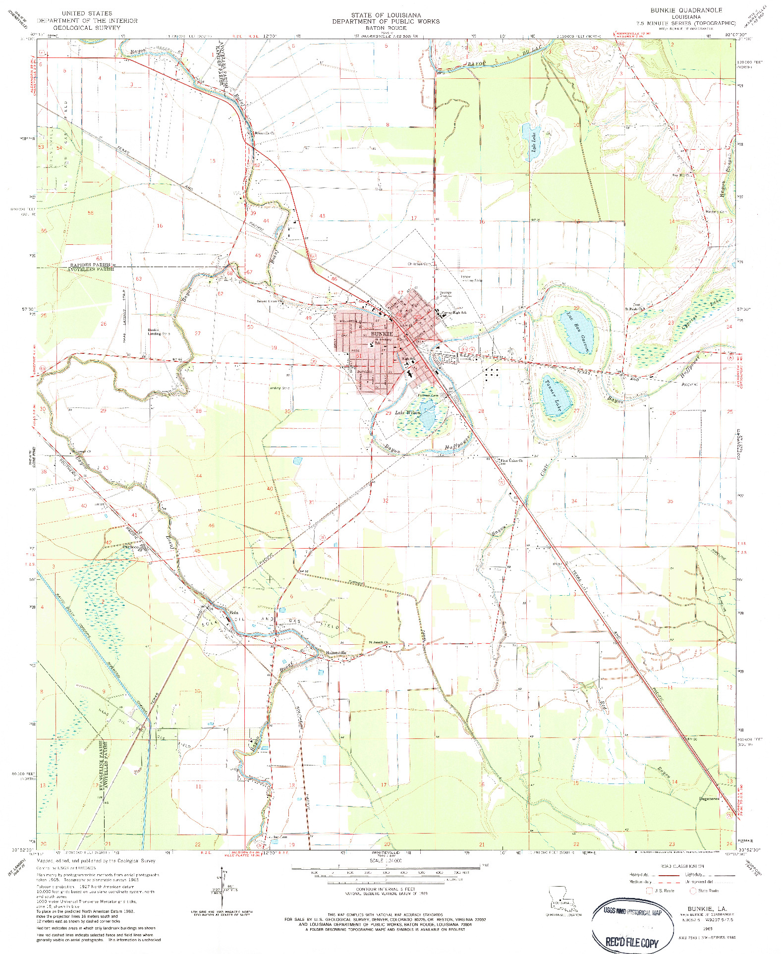 USGS 1:24000-SCALE QUADRANGLE FOR BUNKIE, LA 1965
