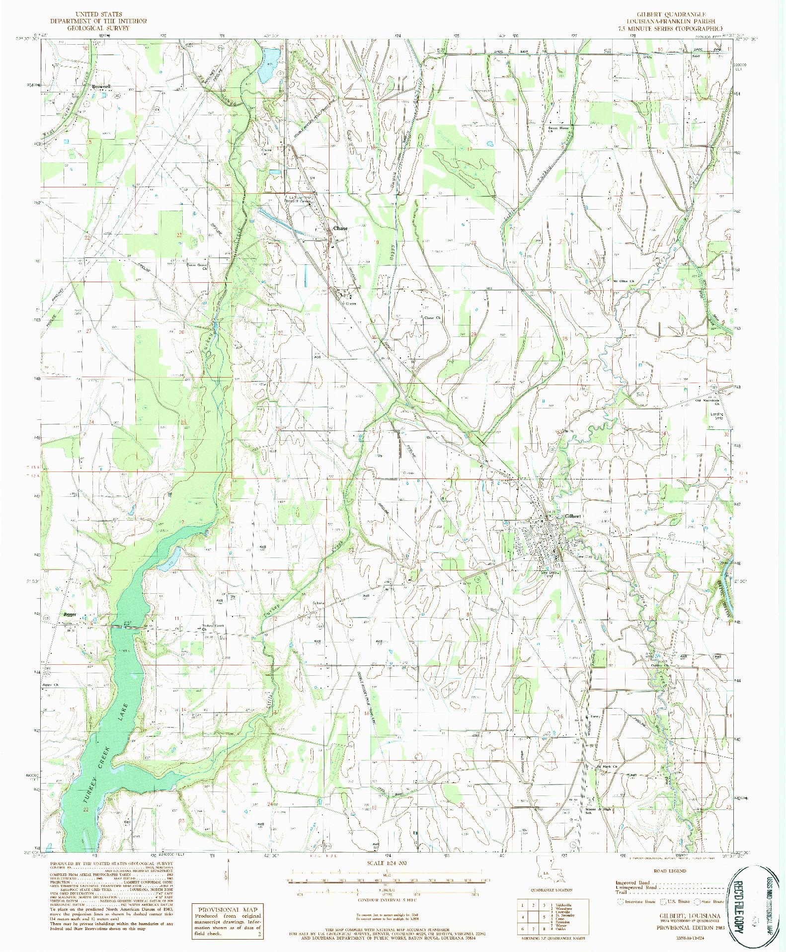 USGS 1:24000-SCALE QUADRANGLE FOR GILBERT, LA 1983