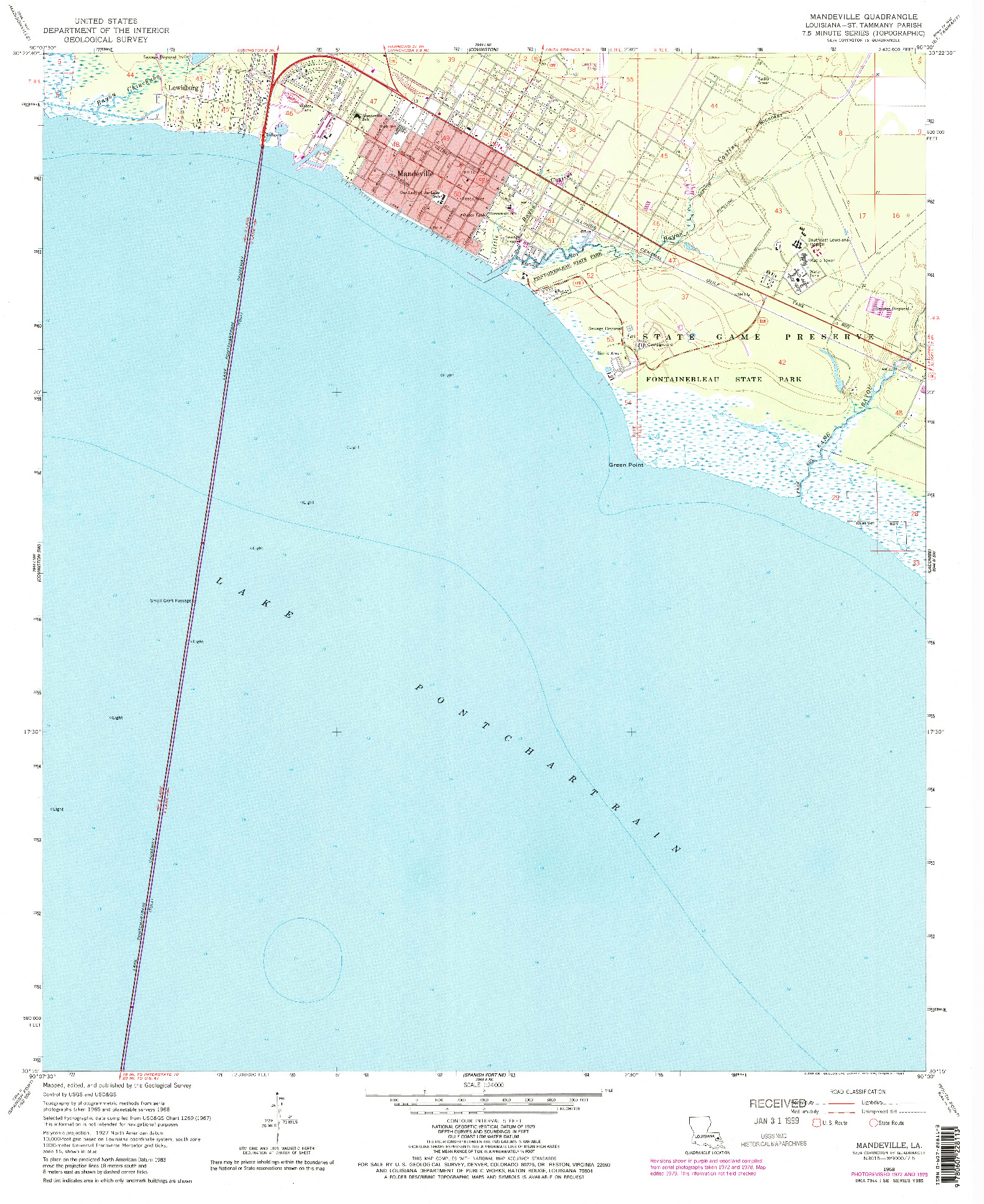USGS 1:24000-SCALE QUADRANGLE FOR MANDEVILLE, LA 1968