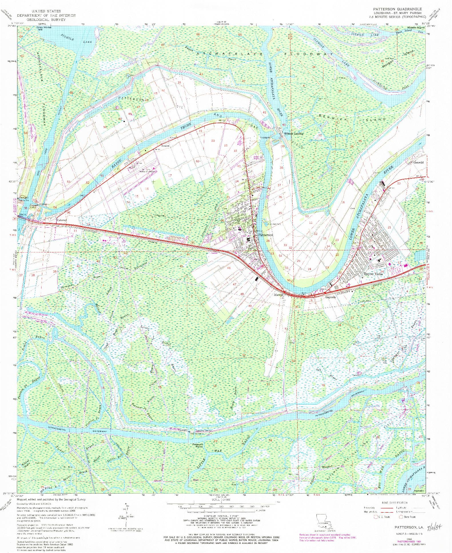 USGS 1:24000-SCALE QUADRANGLE FOR PATTERSON, LA 1966