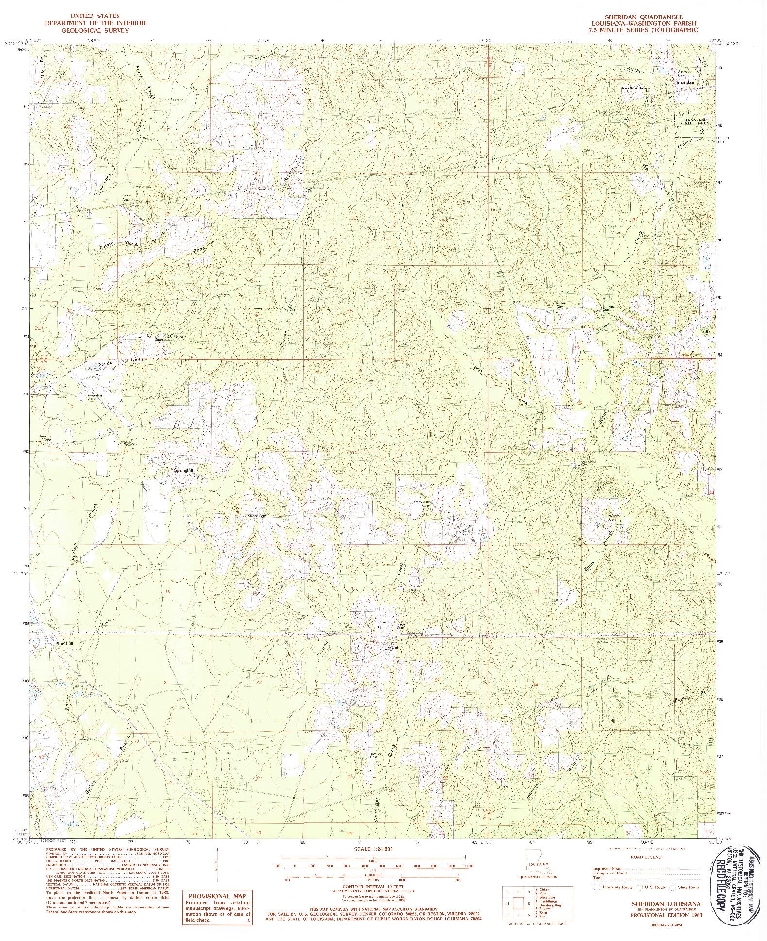 USGS 1:24000-SCALE QUADRANGLE FOR SHERIDAN, LA 1983
