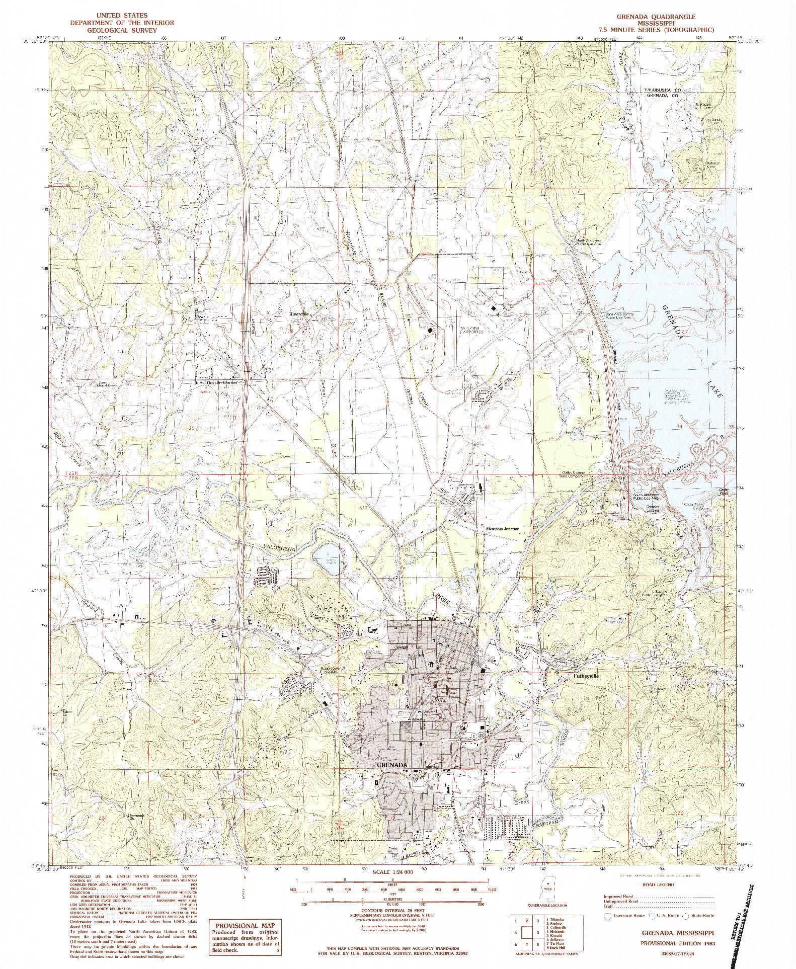 USGS 1:24000-SCALE QUADRANGLE FOR GRENADA, MS 1983