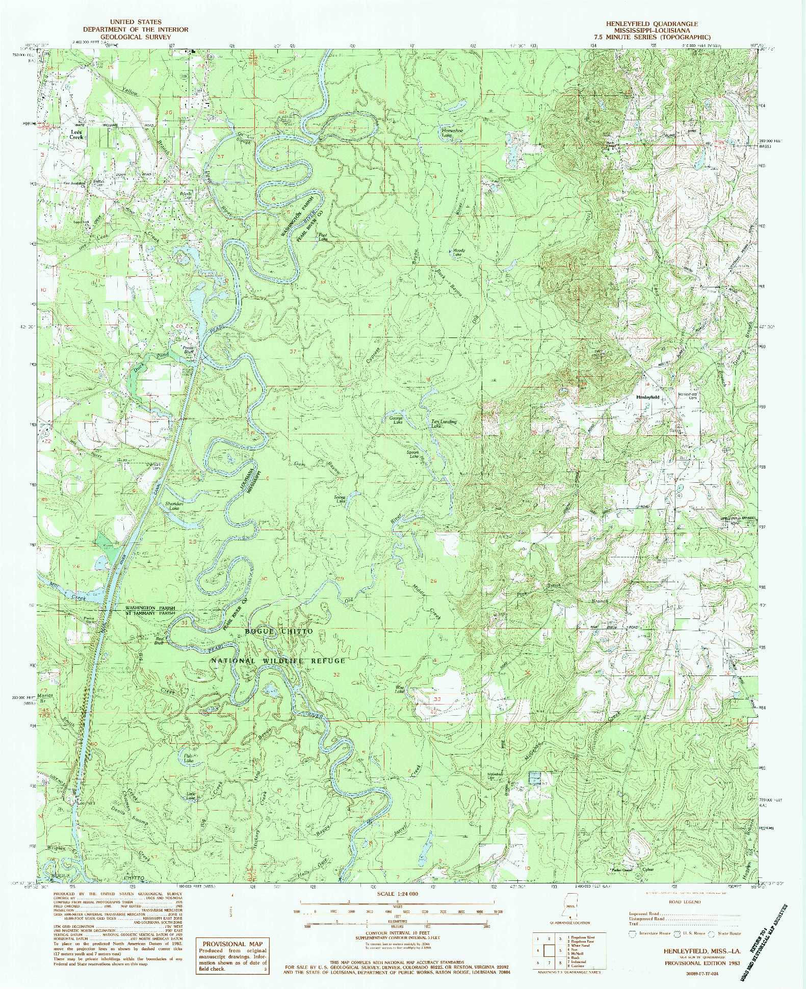 USGS 1:24000-SCALE QUADRANGLE FOR HENLEYFIELD, MS 1983