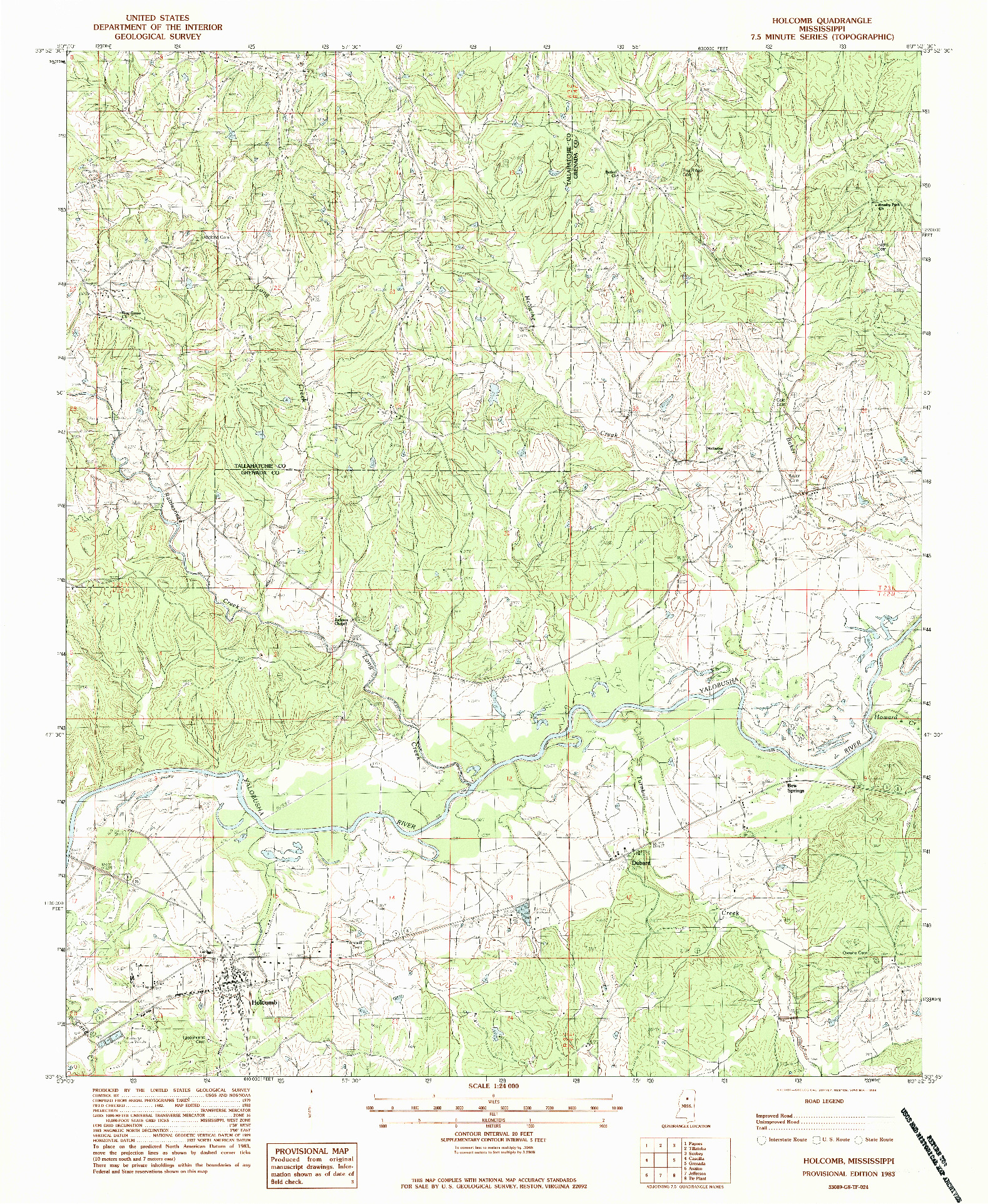 USGS 1:24000-SCALE QUADRANGLE FOR HOLCOMB, MS 1983