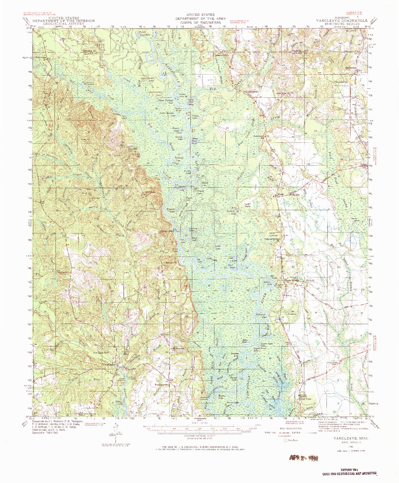 USGS 1:62500-SCALE QUADRANGLE FOR VANCLEAVE, MS 1941