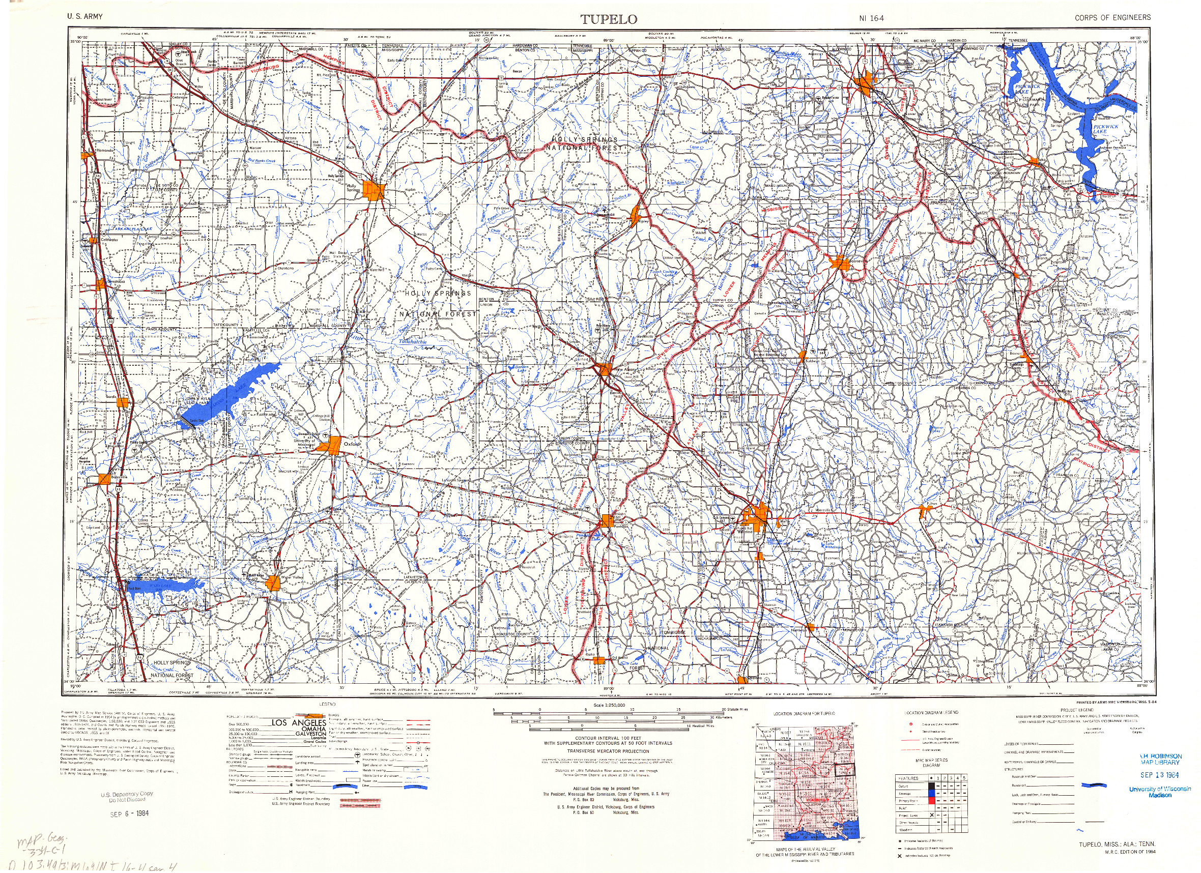 USGS 1:250000-SCALE QUADRANGLE FOR TUPELO, MS 1984