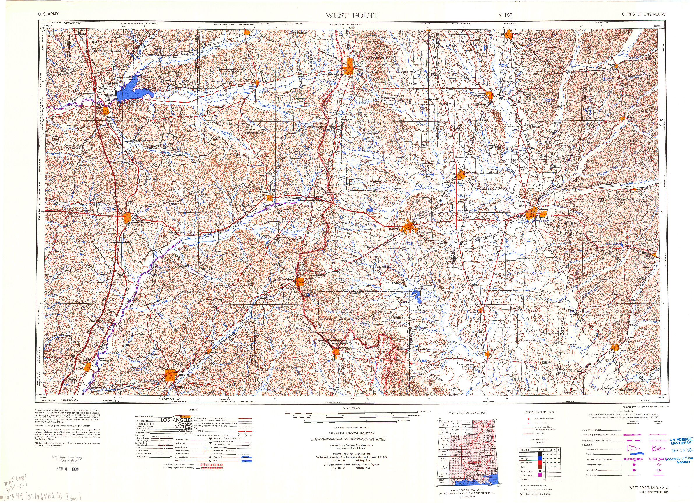USGS 1:250000-SCALE QUADRANGLE FOR WEST POINT, MS 1984