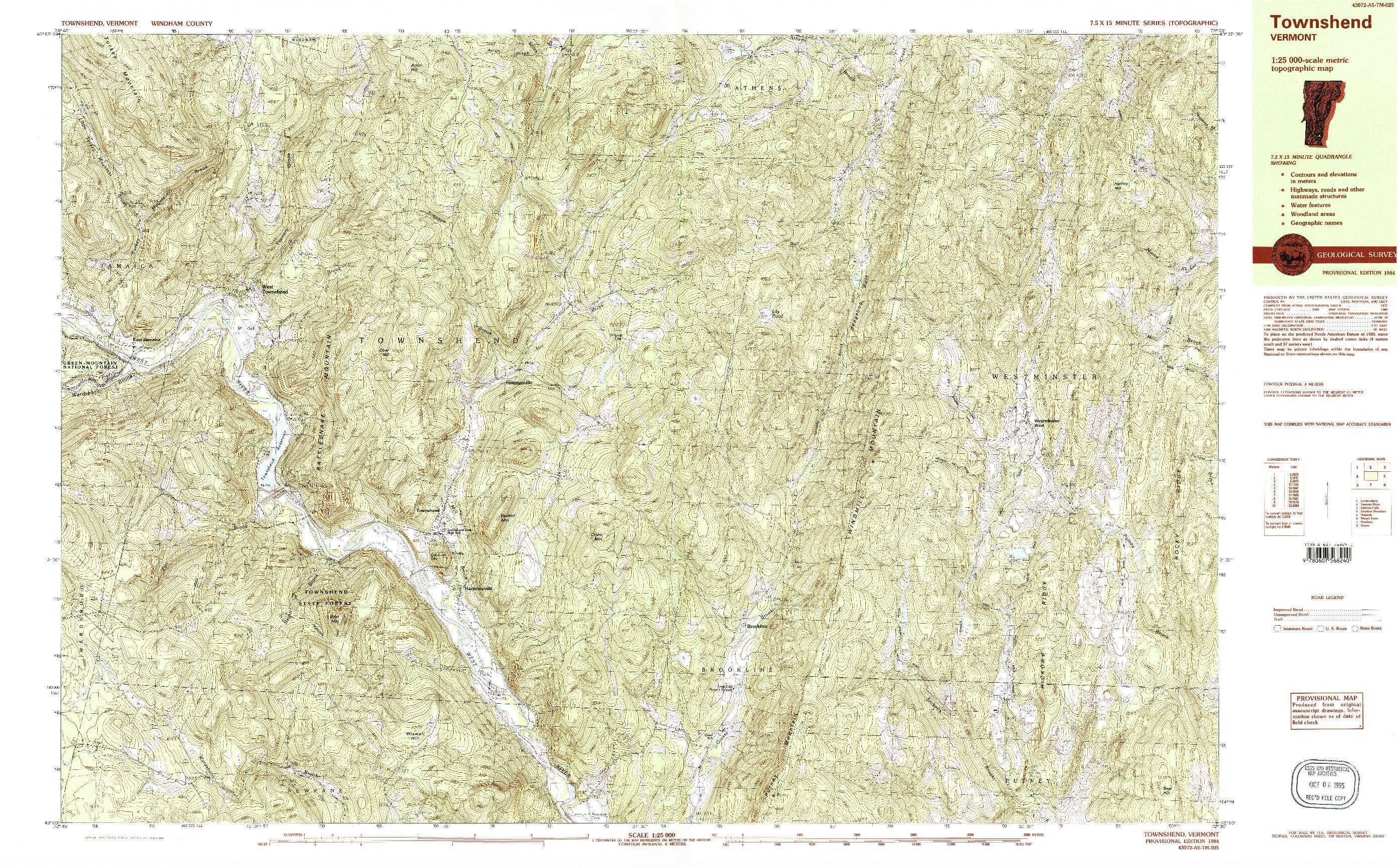 USGS 1:25000-SCALE QUADRANGLE FOR TOWNSHEND, VT 1984
