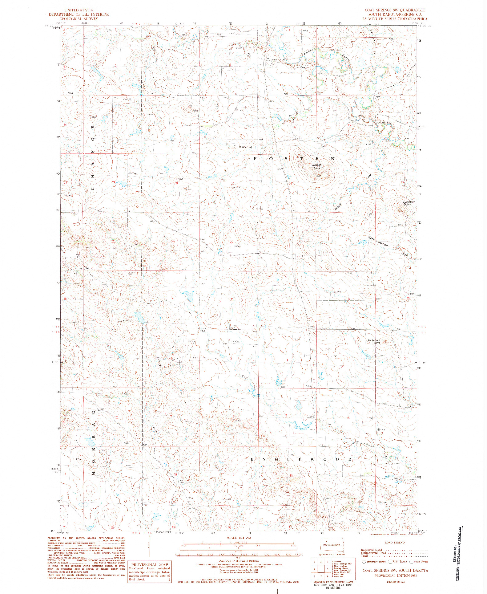 USGS 1:24000-SCALE QUADRANGLE FOR COAL SPRINGS SW, SD 1983