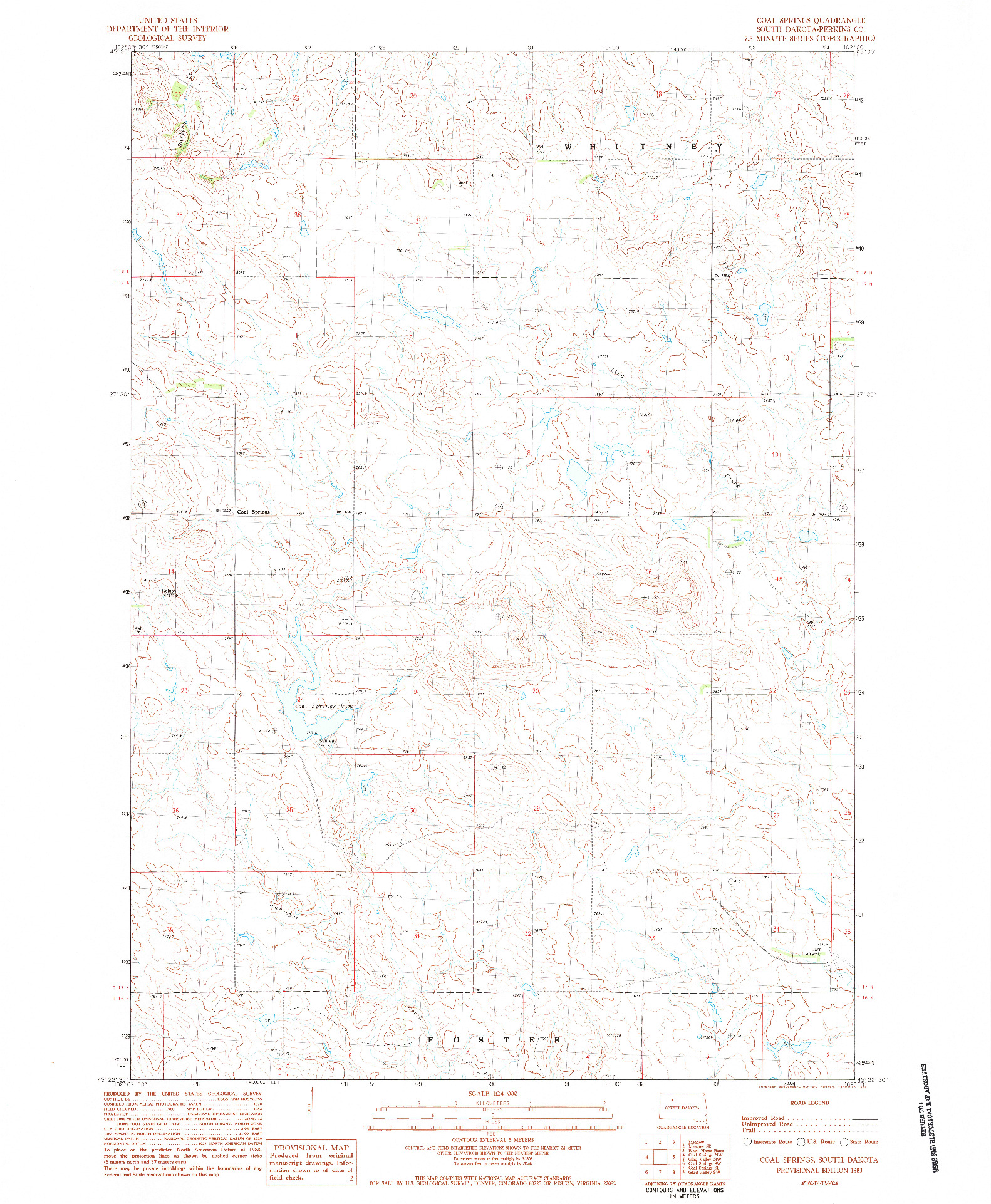 USGS 1:24000-SCALE QUADRANGLE FOR COAL SPRINGS, SD 1983